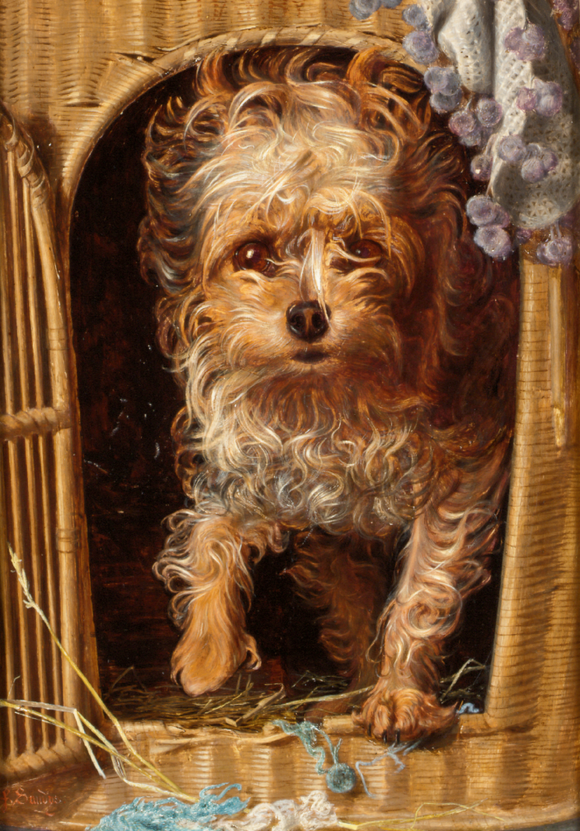 ANTHONY FREDERICK AUGUSTUS SANDYS | Darby in his Basket Kennel