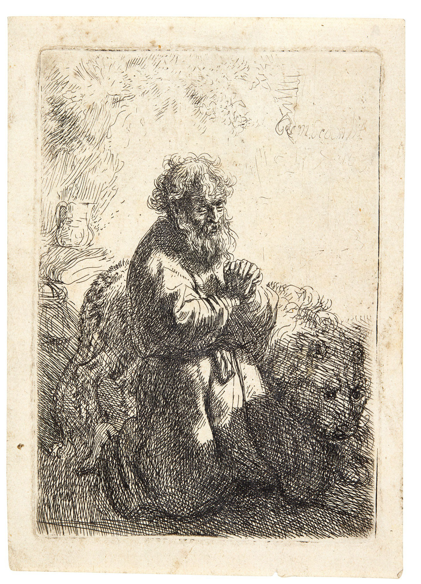 REMBRANDT HARMENSZ. VAN RIJN | ST JEROME KNEELING IN PRAYER, LOOKING DOWN (B., HOLL. 102; NEW HOLL. 142; H. 140)