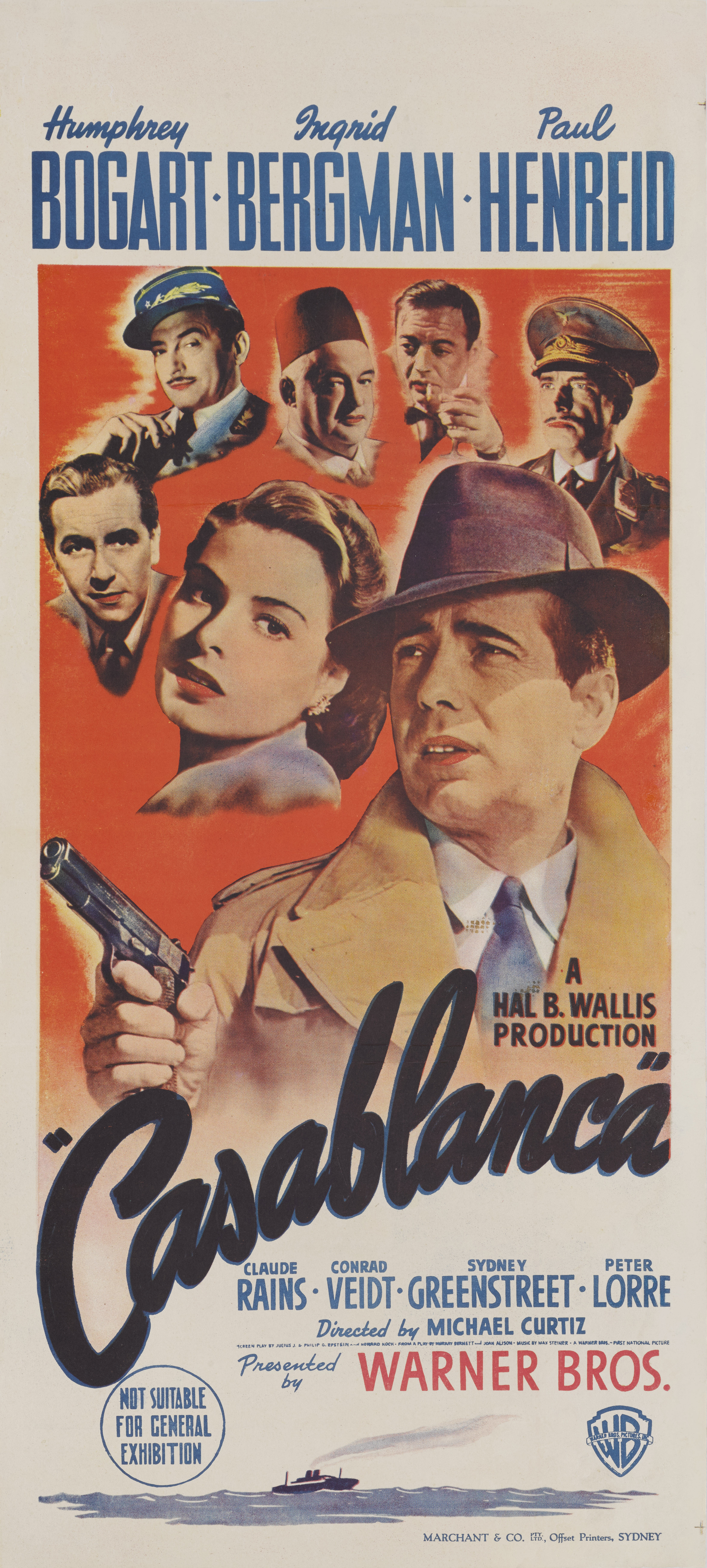 View full screen - View 1 of Lot 46. Casablanca (1942) Poster, Australian, First Australian release 1944 .