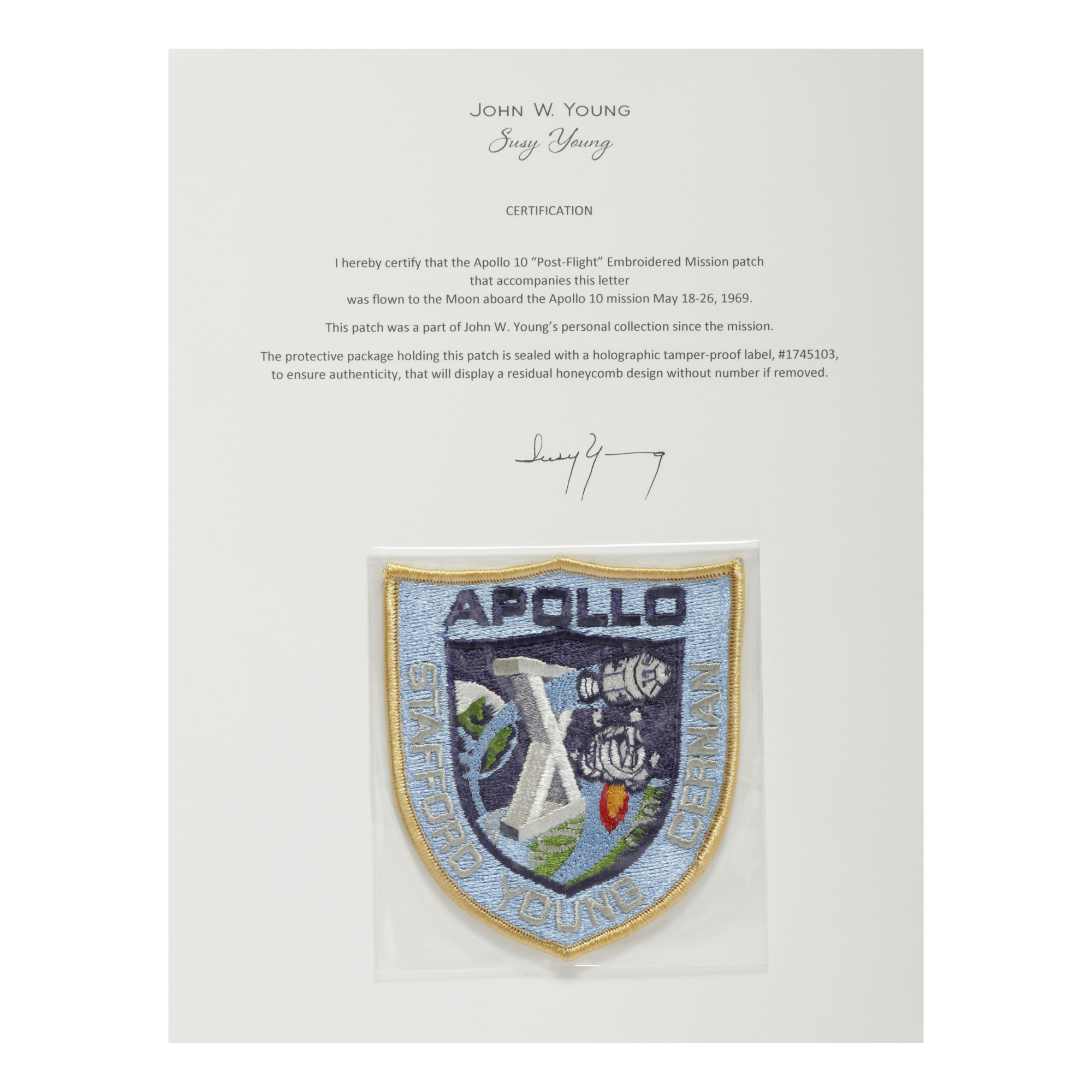 """[APOLLO 10]. FLOWN ON APOLLO 10. """"POST-FLIGHT"""" EMBROIDERED MISSION INSIGNIA PATCH FROM THE COLLECTION OF JOHN YOUNG"""
