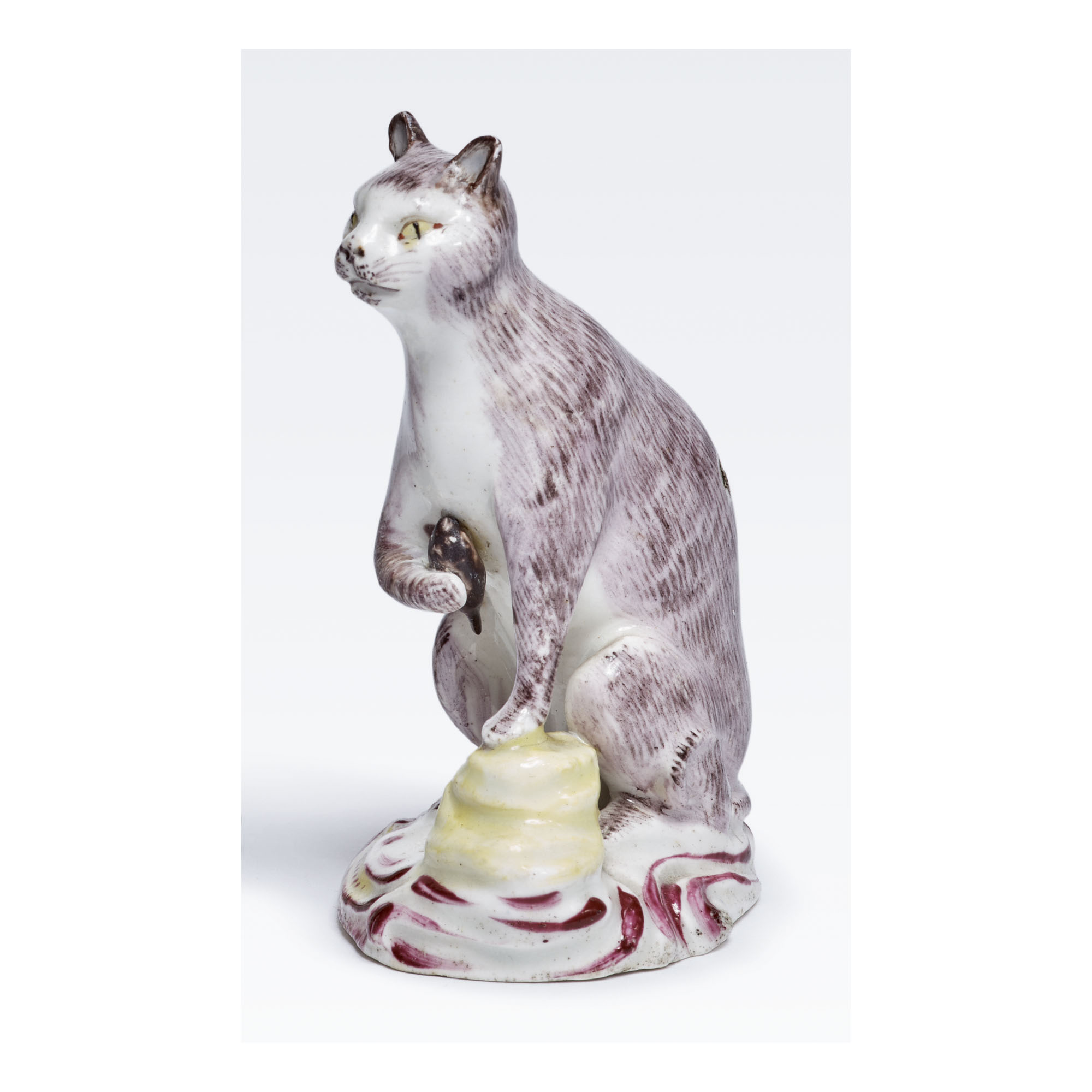 A BOW PORCELAIN FIGURE OF A SEATED CAT CIRCA 1758-60