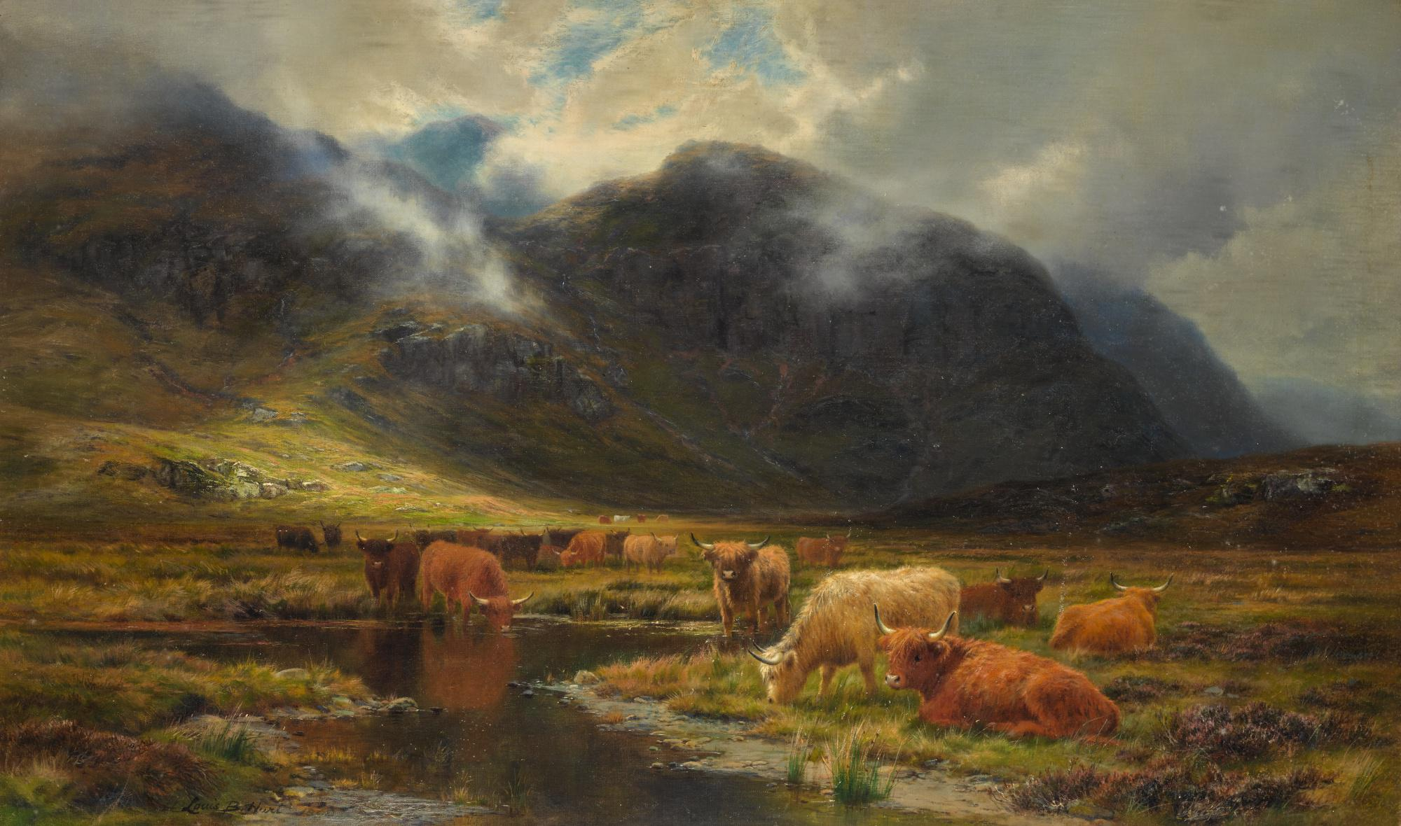 LOUIS BOSWORTH HURT | CATTLE IN A HIGHLAND LANDSCAPE