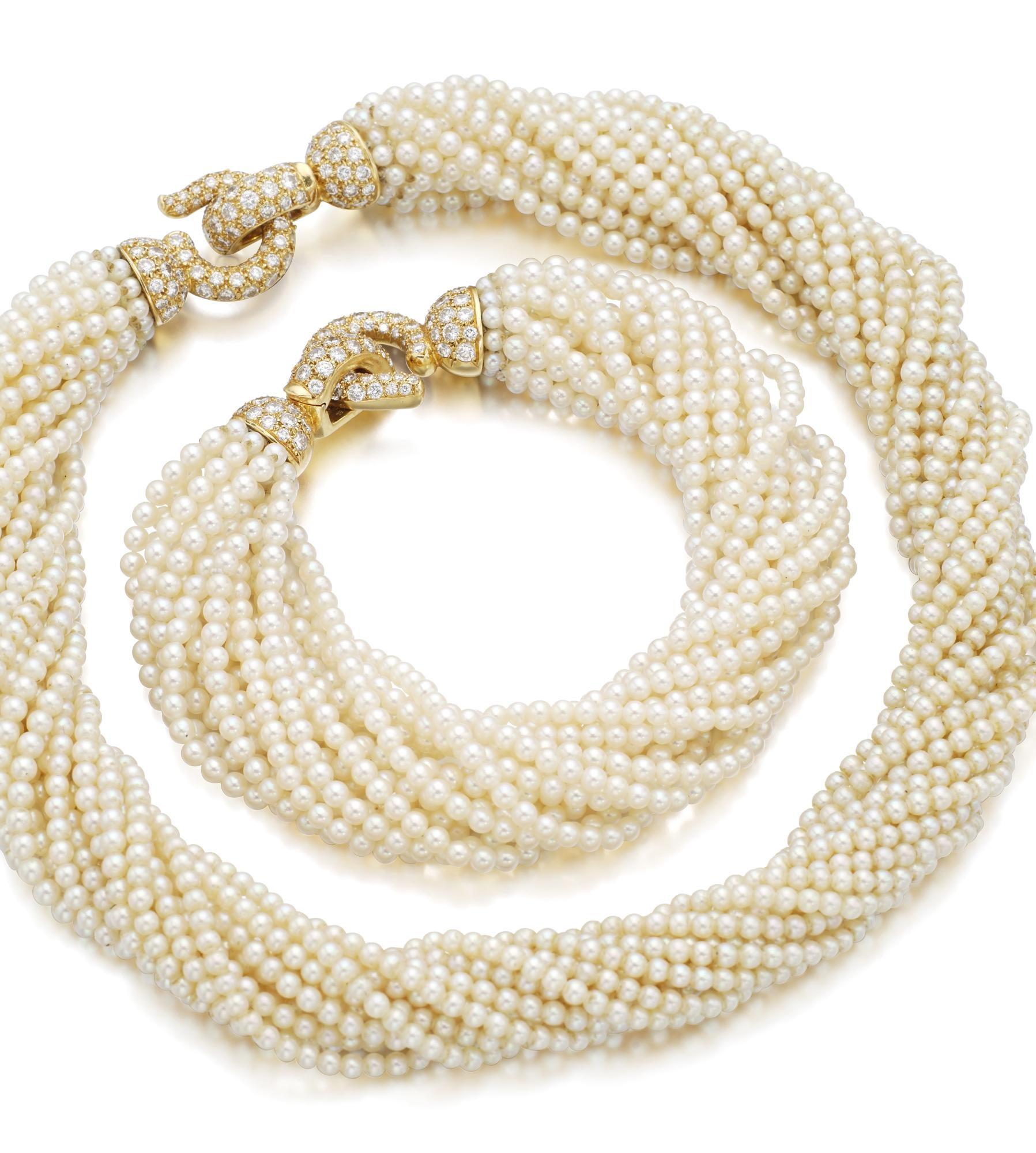 SEED PEARL AND DIAMOND DEMI-PARURE | CARTIER