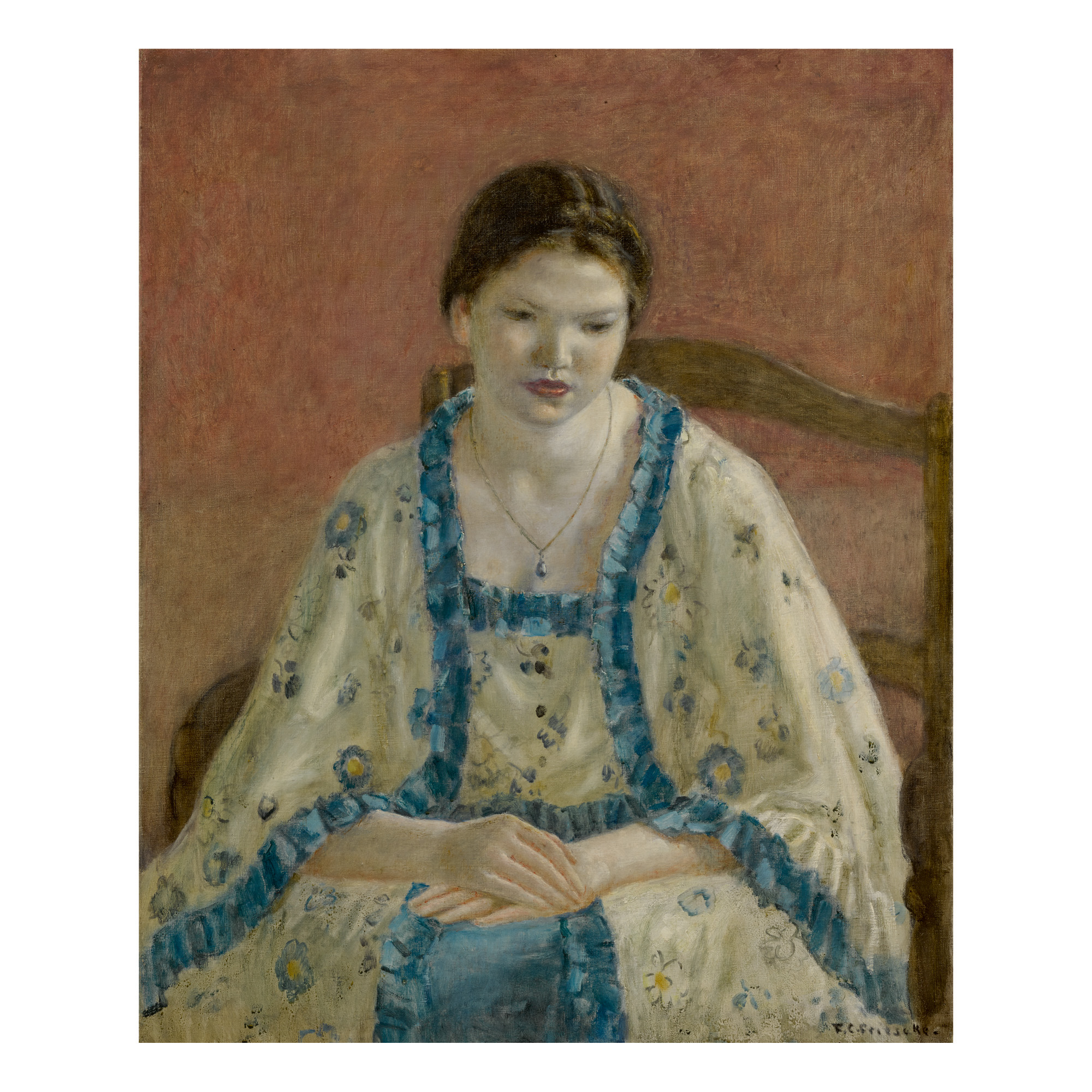 FREDERICK CARL FRIESEKE | PORTRAIT OF A GIRL IN LOUIS XV COSTUME