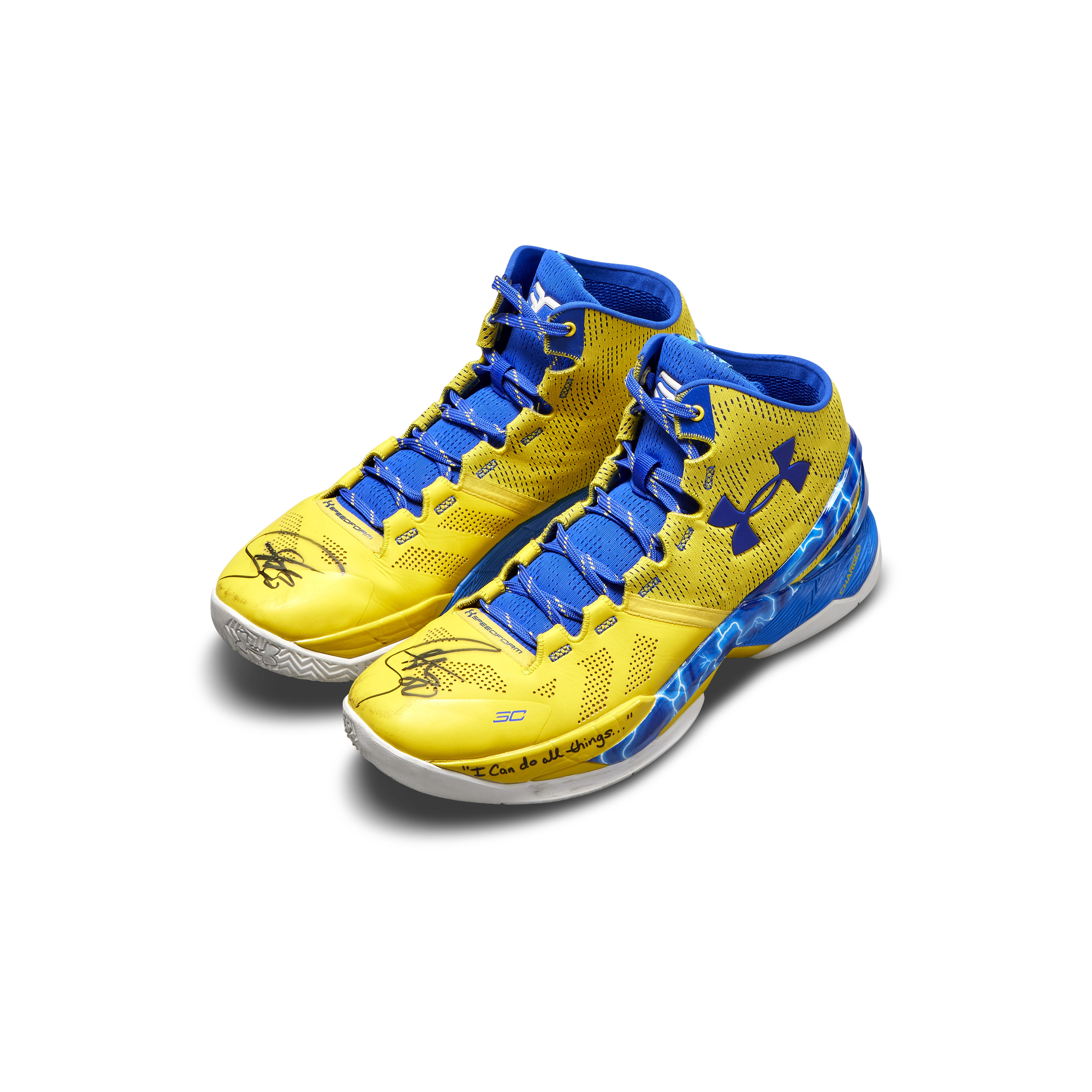 View full screen - View 1 of Lot 801. Under Armour Stephen Curry Game Worn Dual Signed Curry 2.