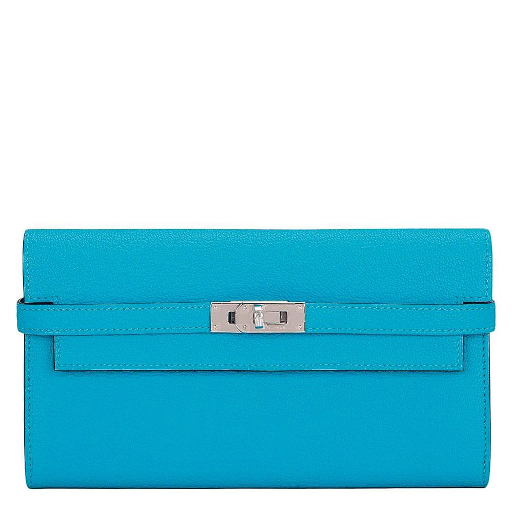 Hermès Bleu Aztec Kelly Long Wallet of Chevre Leather with Palladium Hardware