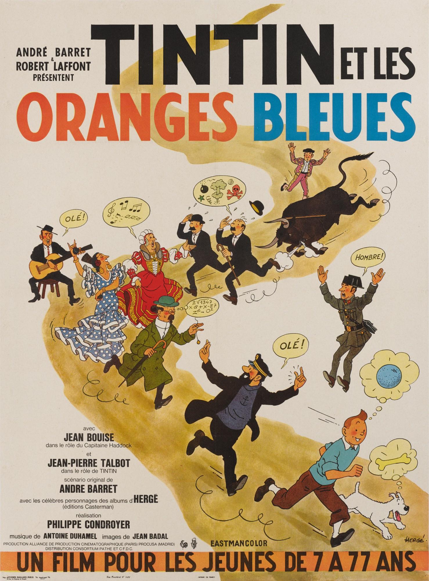 TINTIN ET LES ORANGES BLEUES (1964) POSTER, FRENCH