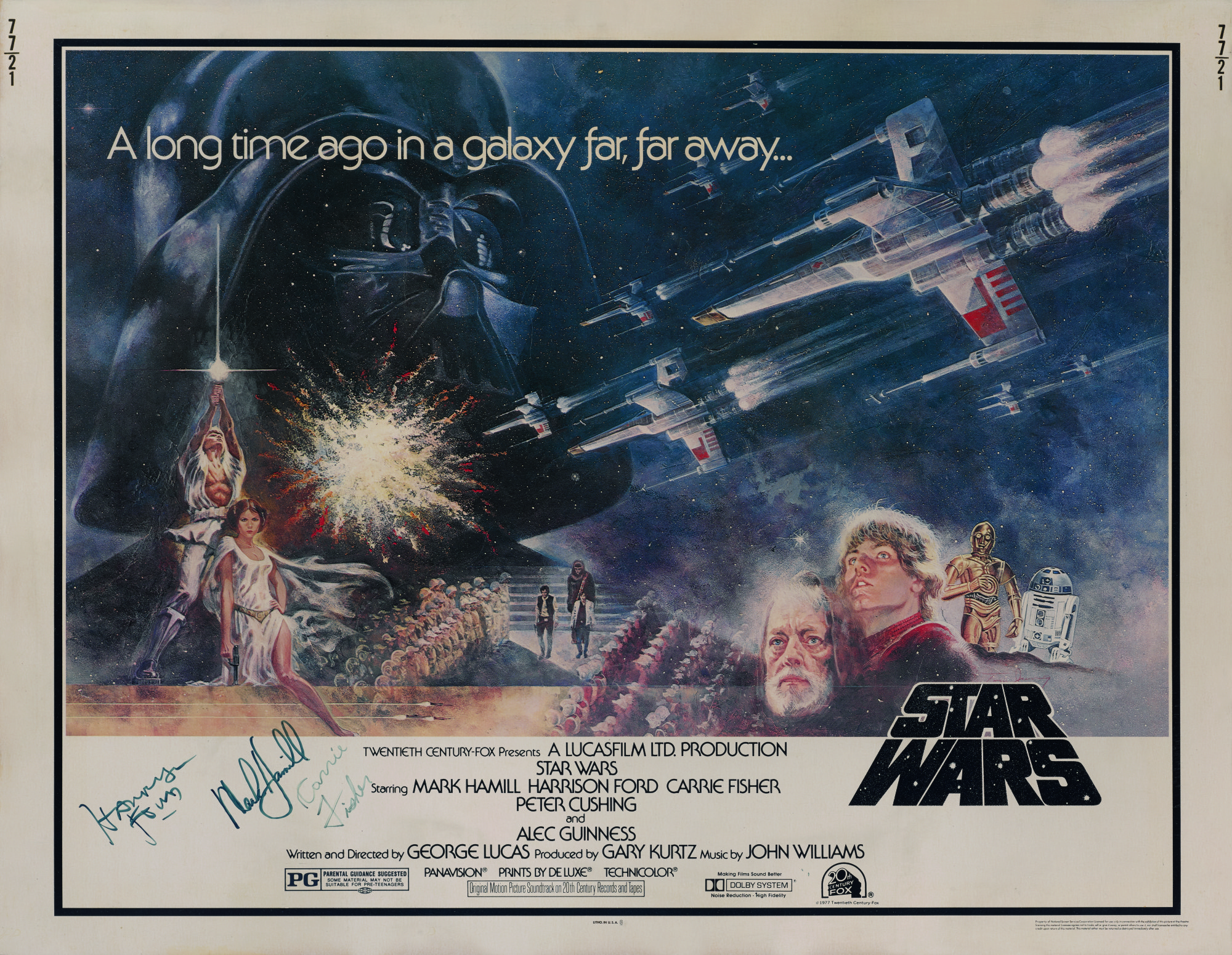 Star Wars (1977) poster, US, signed by Harrison Ford, Mark Hamill and a secretarial signature by Carrie Fisher's mother Debbie Reynolds