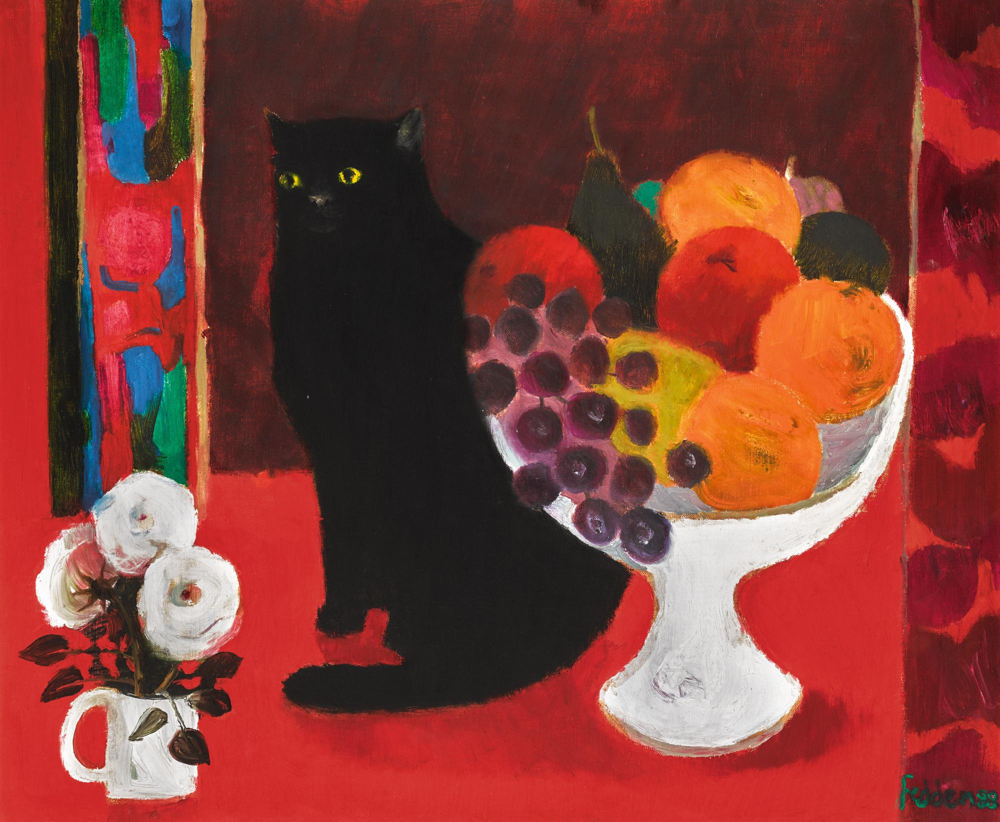 MARY FEDDEN, R.A.   STILL LIFE WITH CAT