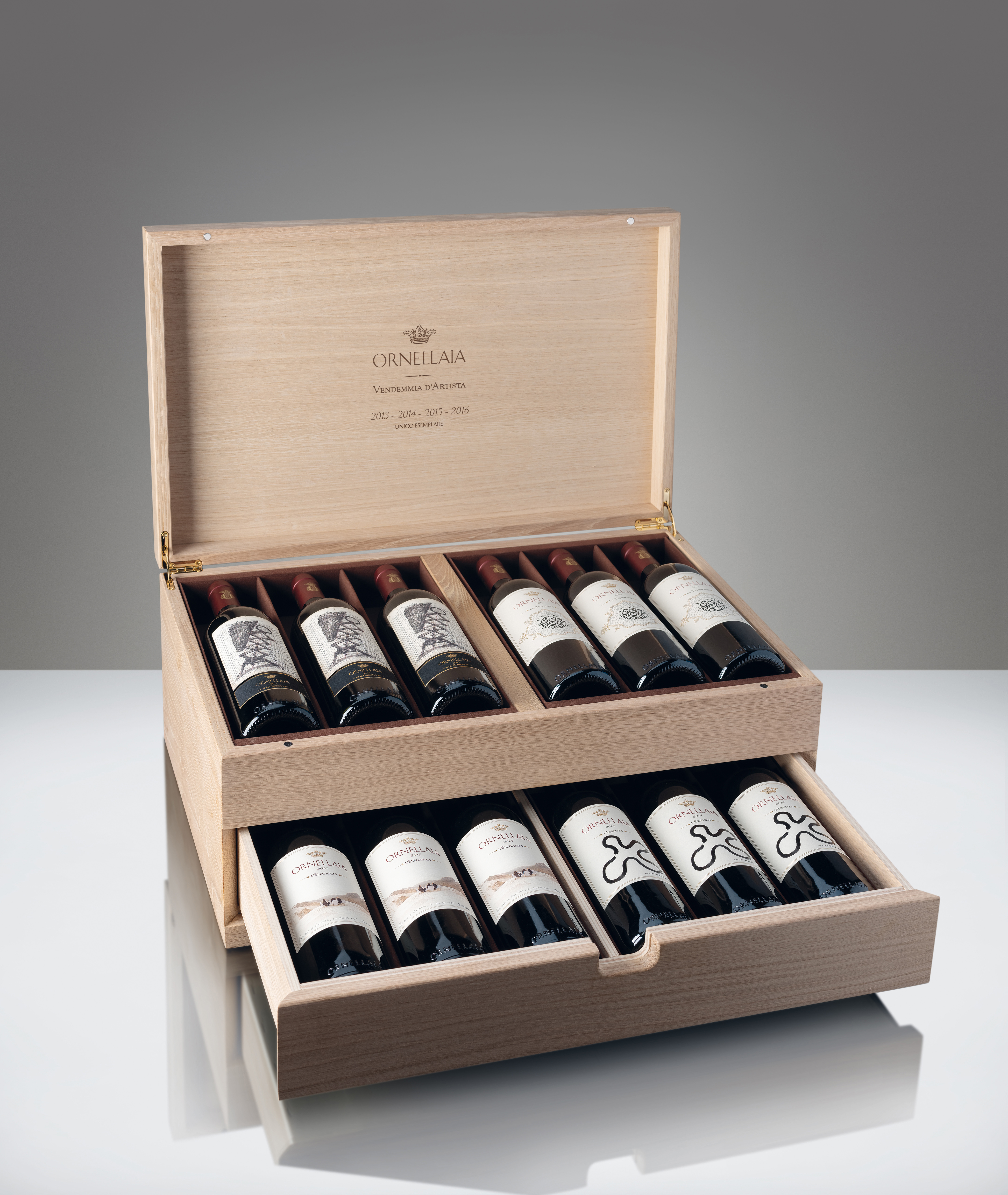 1 UNIQUE COLLECTION CASE OF 12 x 750 ML BOTTLES OF ORNELLAIA WITH VENDEMMIA D'ARTISTA LABELS