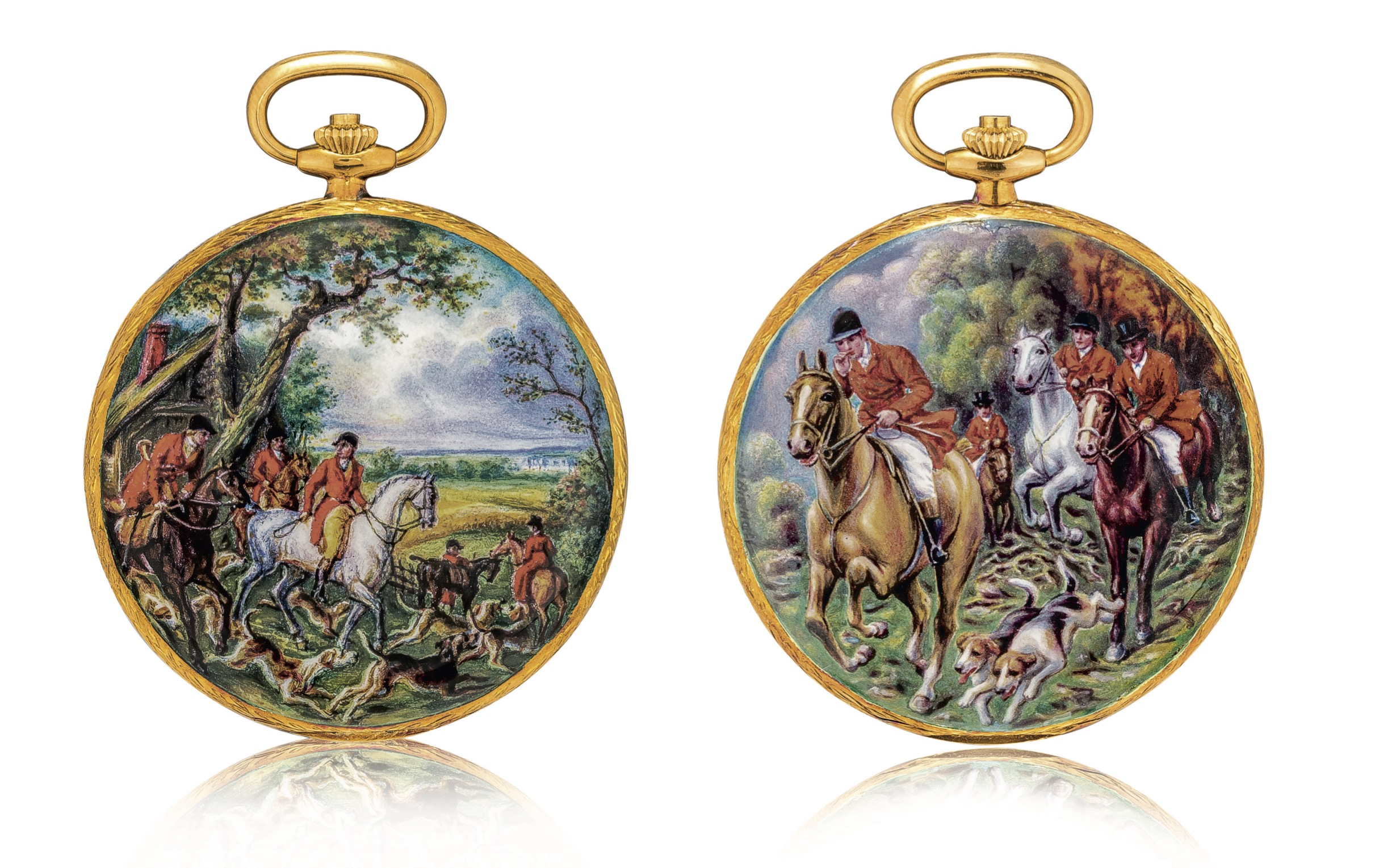 View full screen - View 1 of Lot 2186. Patek Philippe | Reference 823/003, A unique, highly important and exceptional yellow gold hunting case watch with double sided enamel miniature, painted by Madame Marthe Bischoff after a painting by Carle Vernet, retailed by Gübelin and accompanied by original Certificate of Origin, sales invoice and presentation box, Made in 1976 | 百達翡麗 | 型號823/003  獨一無二、非常重要及非凡黃金獵殼懷錶,配 Madame Marthe Bischoff 摹 Carle Vernet 油畫作品的雙面微繪琺瑯,由 Gübelin 發行,附帶原廠證書、收據及盒子,1976年製.