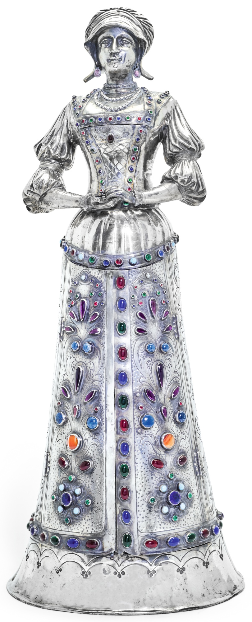 A GERMAN SILVER AND GEM SET FIGURAL JEWEL CABINET, PSEUDO MARKS, HANAU, CIRCA 1890