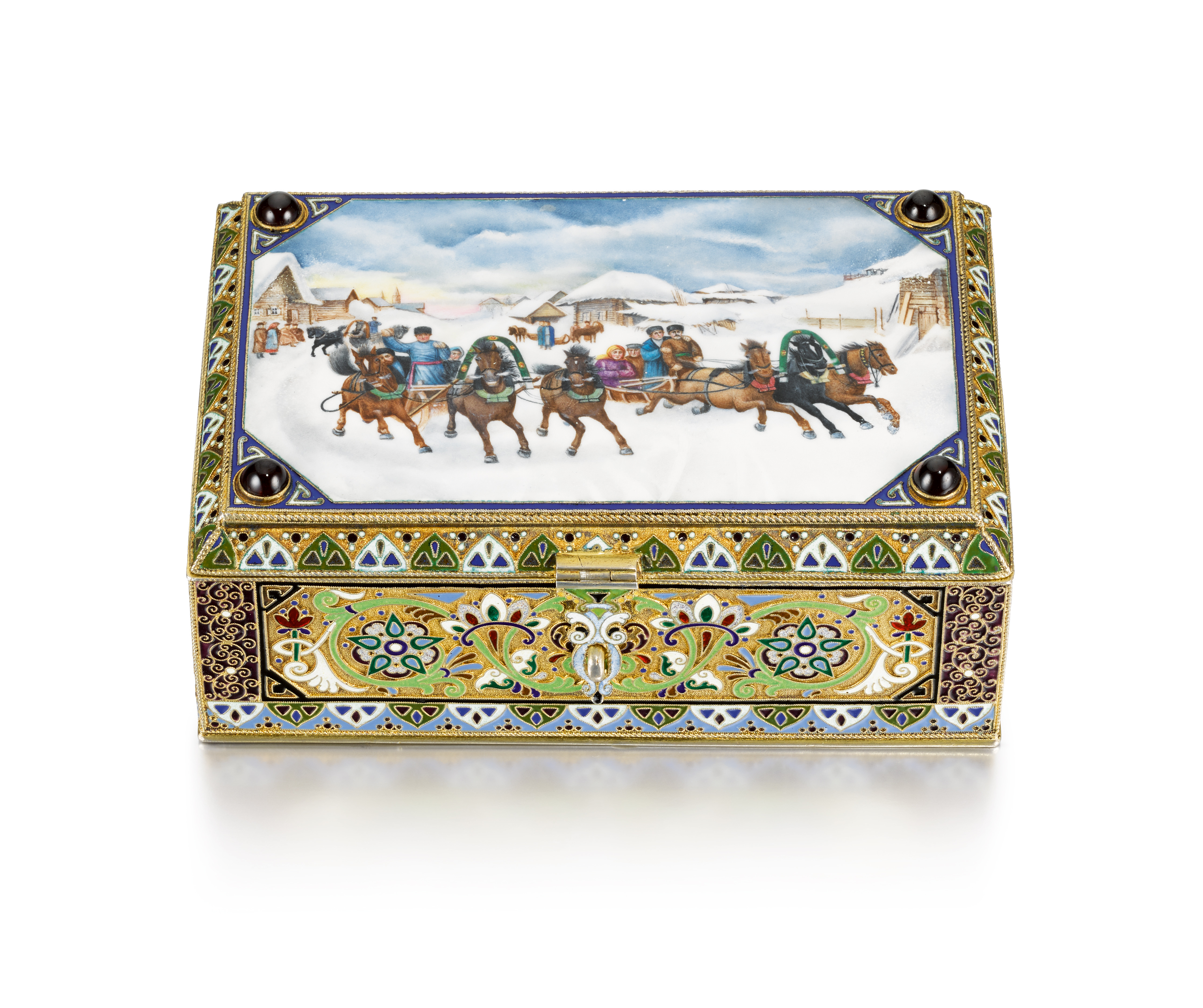View full screen - View 1 of Lot 312. A gem-set silver-gilt cloisonné and pictorial enamel table box, 11th Artel, Moscow, 1908-1917.