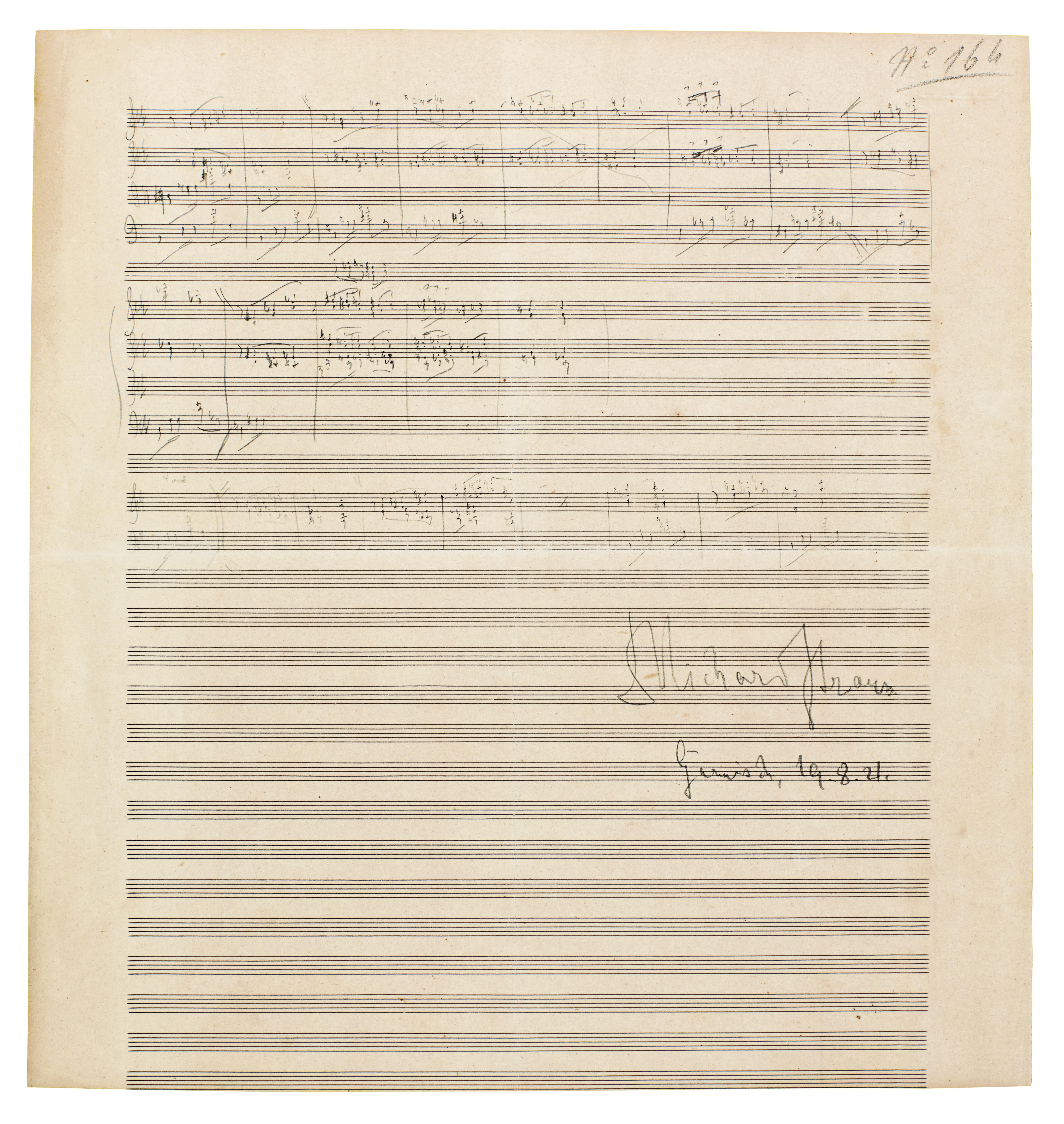 "View 1 of Lot 38. R. Strauss, Sketchleaf for ""Der Bürger als Edelmann"", Op.60 (III) and ""Schlagobers"", Op.70, [1917-1921]."