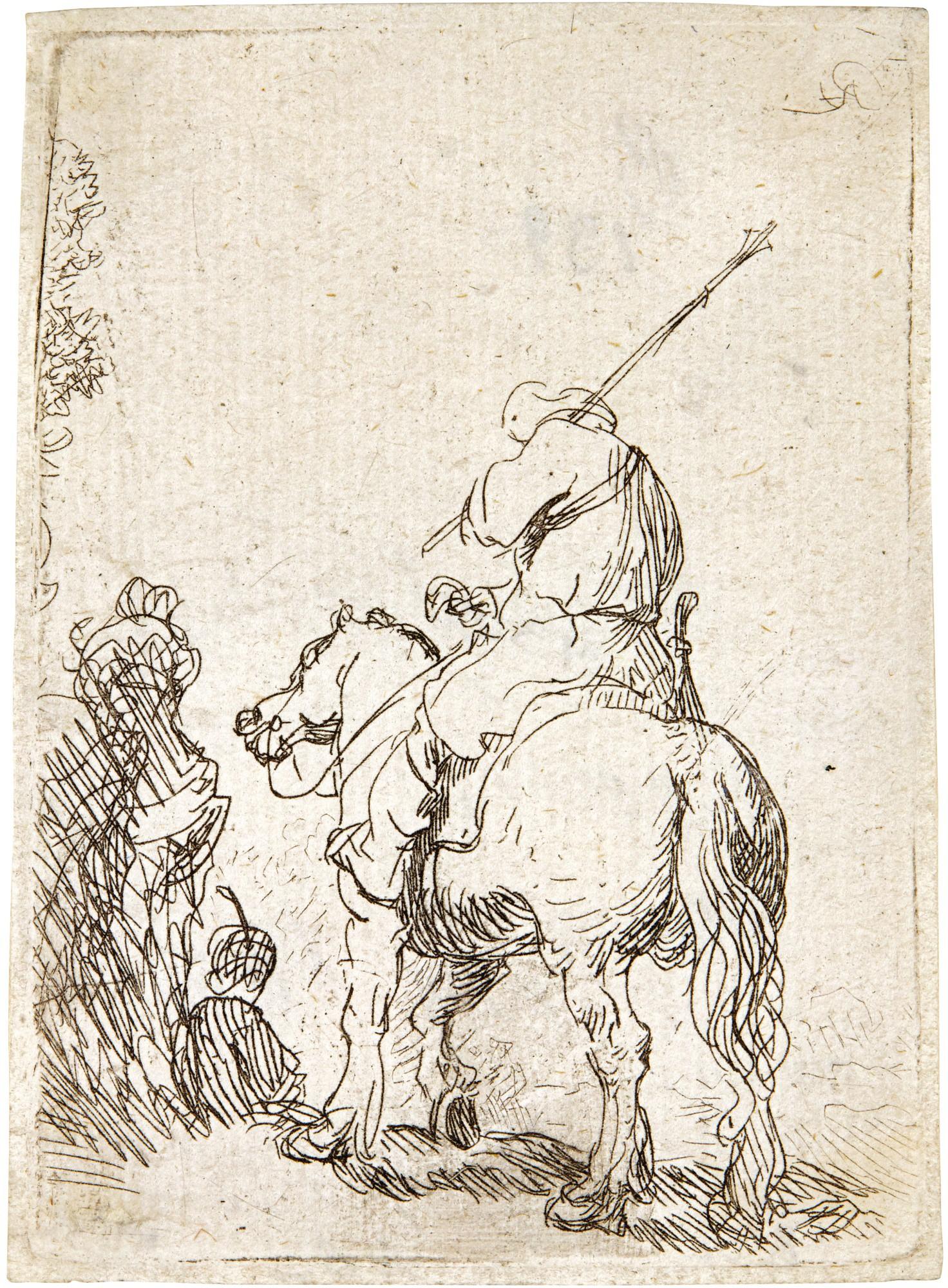 REMBRANDT HARMENSZ. VAN RIJN   TURBANED SOLDIER ON HORSEBACK (B., HOLL. 139; NEW HOLL. 43; H. 99)