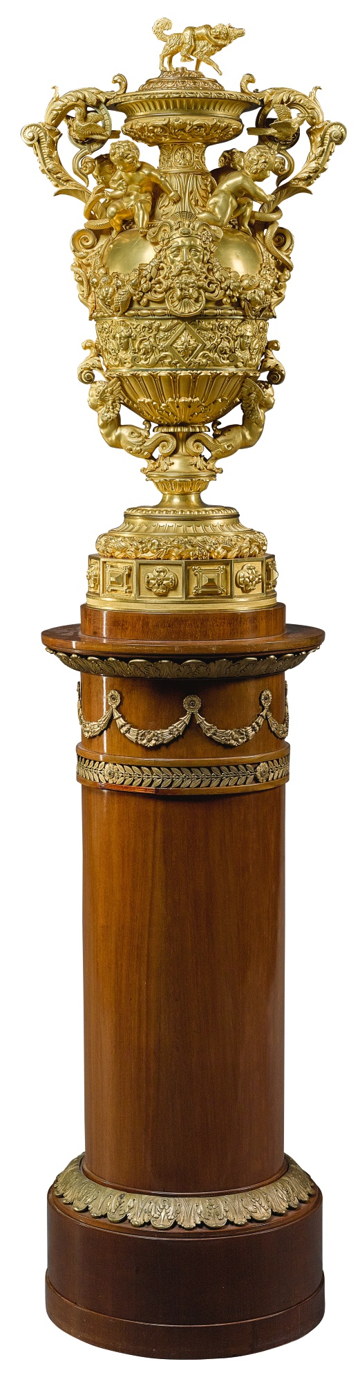 View full screen - View 1 of Lot 160. A LOUIS-PHILIPPE GILT-BRONZE MOUNTED COVERED VASE, CIRCA 1840, BY THOMIRE & CIE.