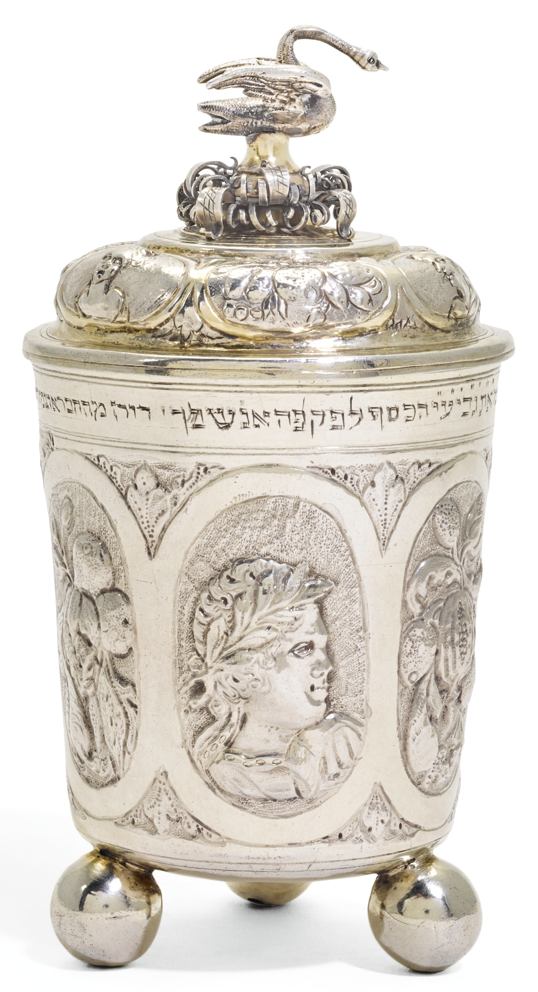 A GERMAN PARCEL-GILT SILVER BEAKER AND COVER, JACOB PFAFF, NUREMBERG, CIRCA 1680