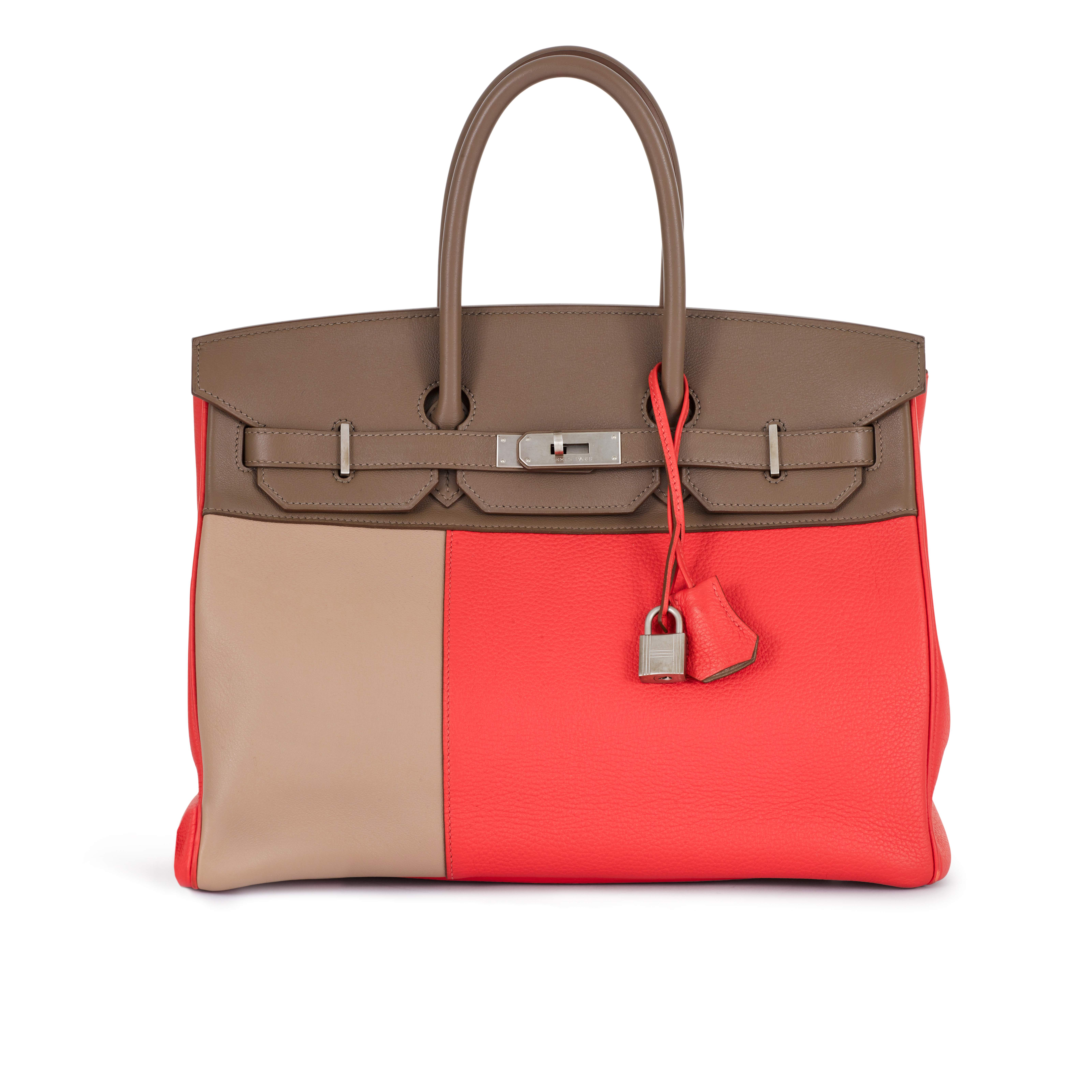 View full screen - View 1 of Lot 6.  Rose Jaipur, Etoupe and Argile in Swift and Clemence Leather Birkin 35 Palladium Hardware, 2012.