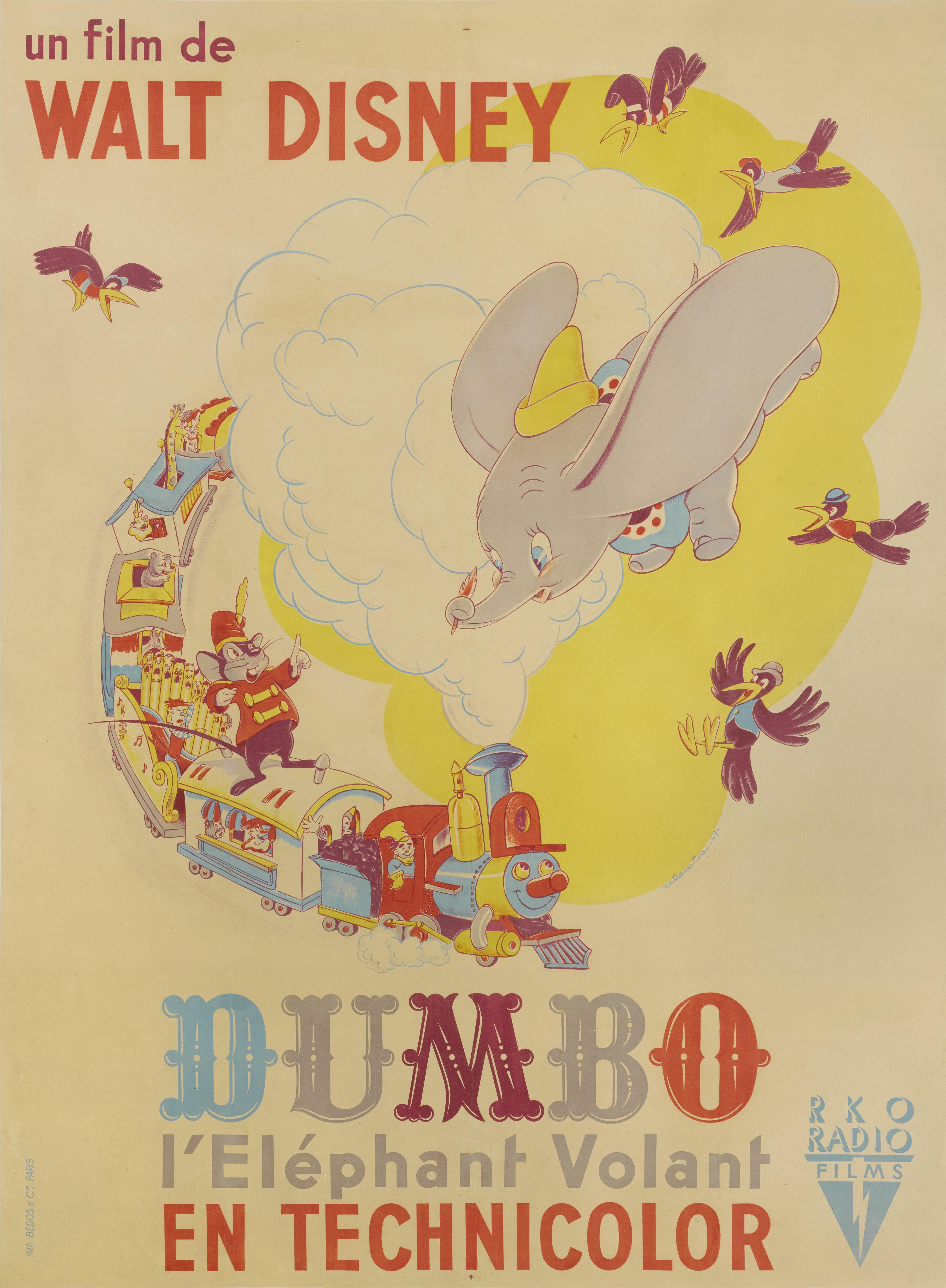 View full screen - View 1 of Lot 179. Dumbo / Dumbo L' Elephant Volant (1941) Poster, French, First French release 1947.