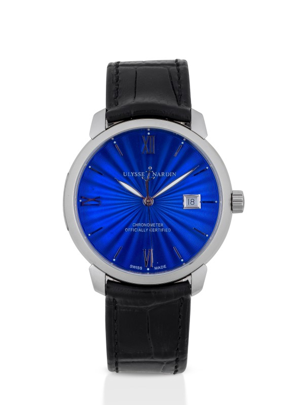 ULYSSE NARDIN | CLASSICO, REF 8153-111 STAINLESS STEEL WRISTWATCH WITH DATE AND BLUE ENAMEL DIAL CIRCA 2013