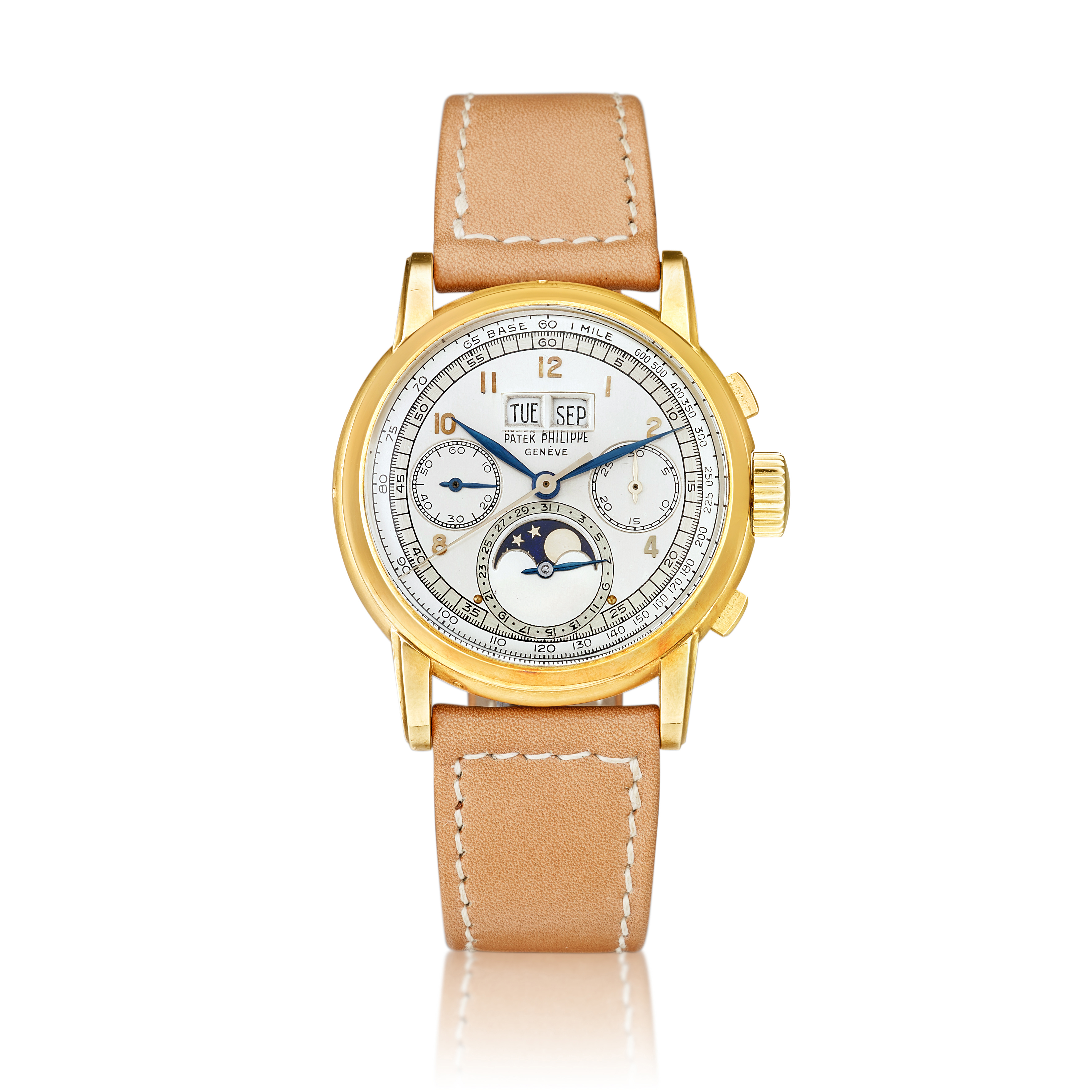 """View full screen - View 1 of Lot 2262. Reference 2499 """"First series"""" A yellow gold perpetual calendar chronograph wristwatch with moon phases and Wenger case, Made in 1953   百達翡麗   型號2499 """"First series""""   黃金萬年曆計時腕錶 ,備月相顯示及 Wenger 錶殼,1953年製."""