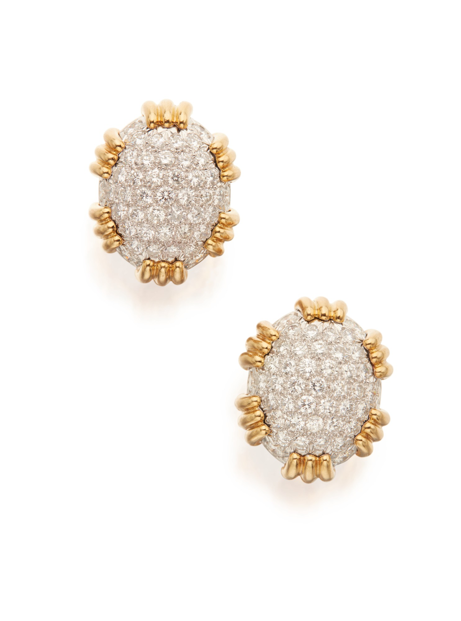 PAIR OF GOLD AND DIAMOND EARCLIPS, DAVID WEBB