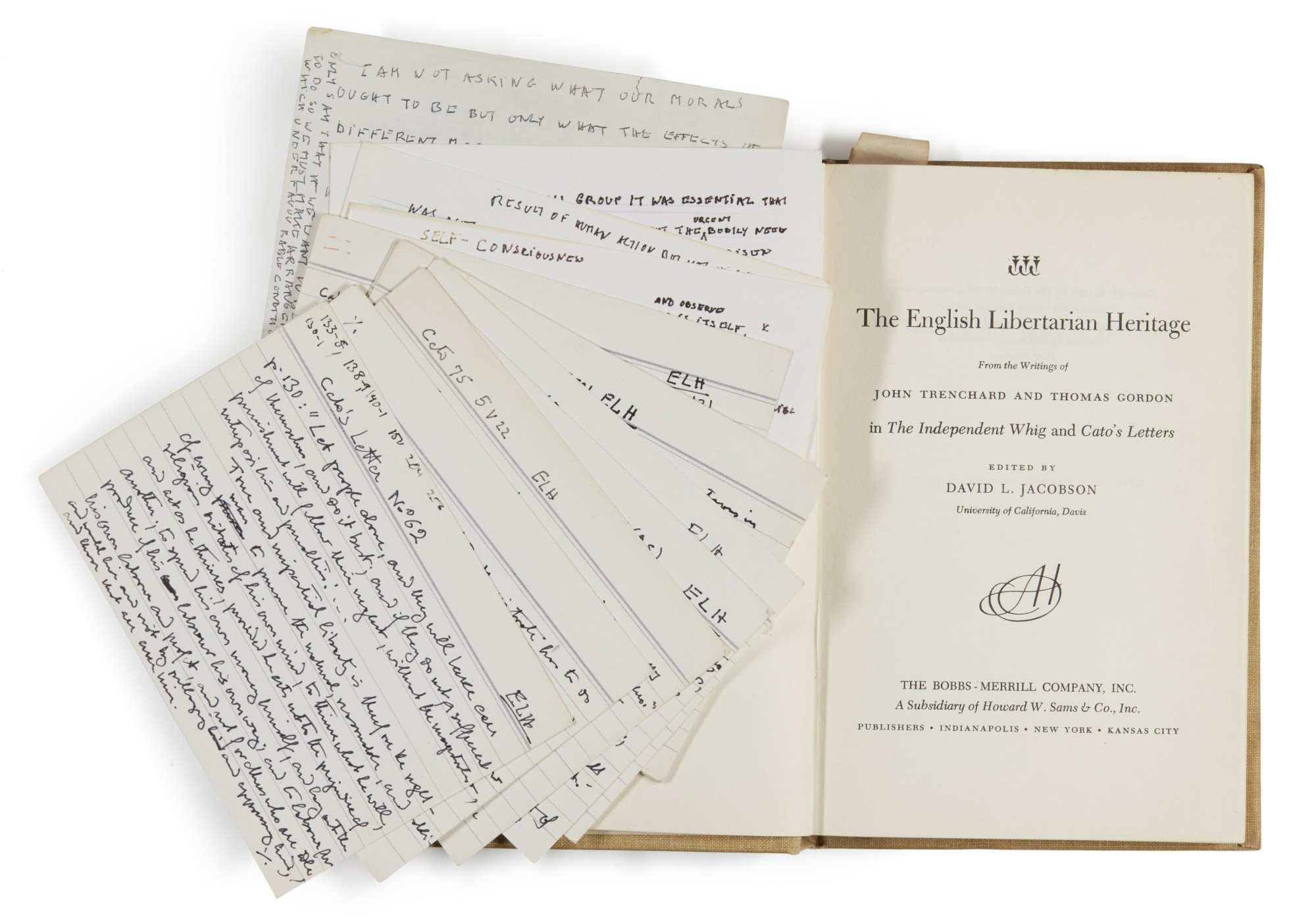 6 VOLUMES FROM HAYEK'S LIBRARY, ONE VOLUME WITH MANUSCRIPT NOTECARDS, 1915-1984