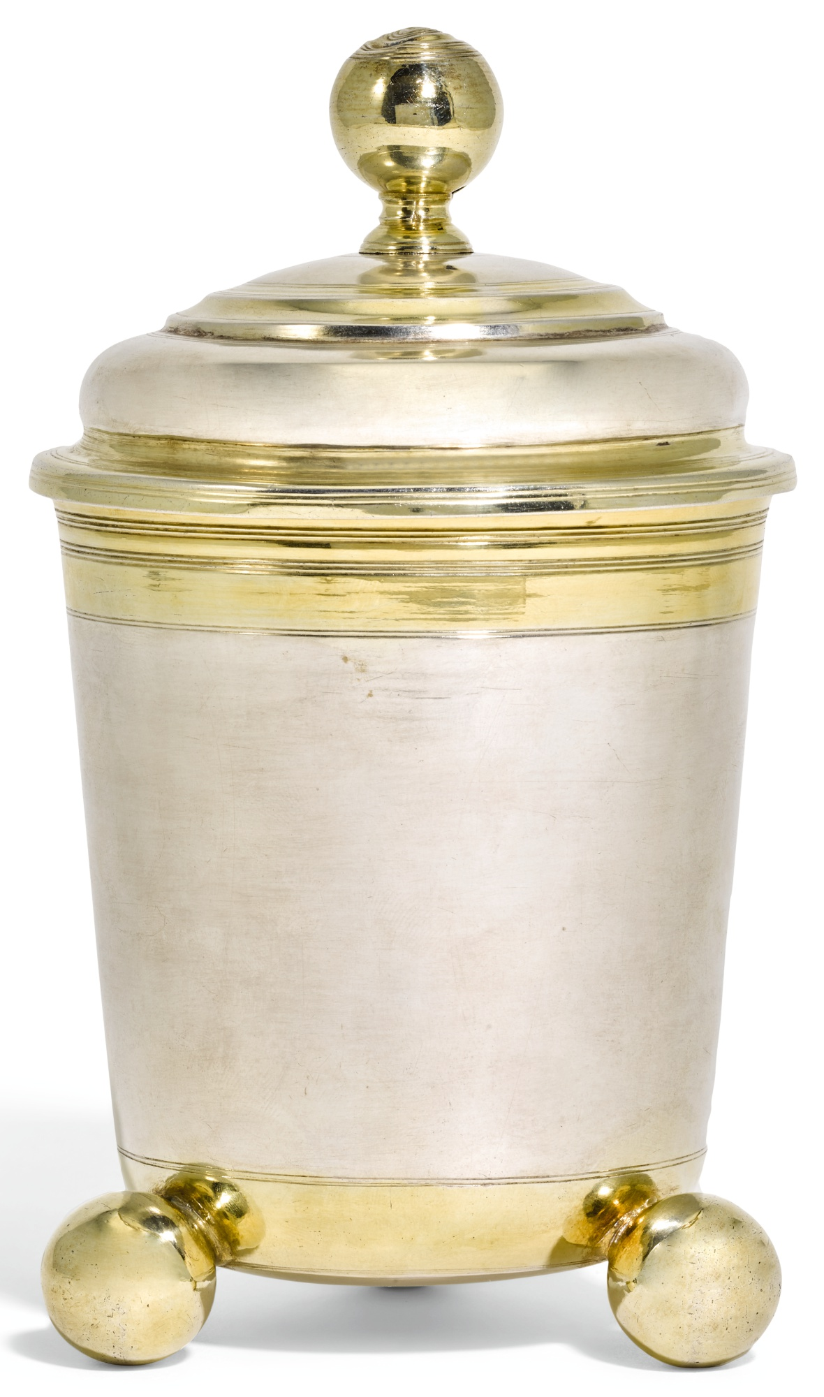 A LARGE FRANCO-GERMAN PARCEL-GILT SILVER BEAKER AND COVER, JOSIAS DIFFENBECHER, STRASBOURG, CIRCA 1680