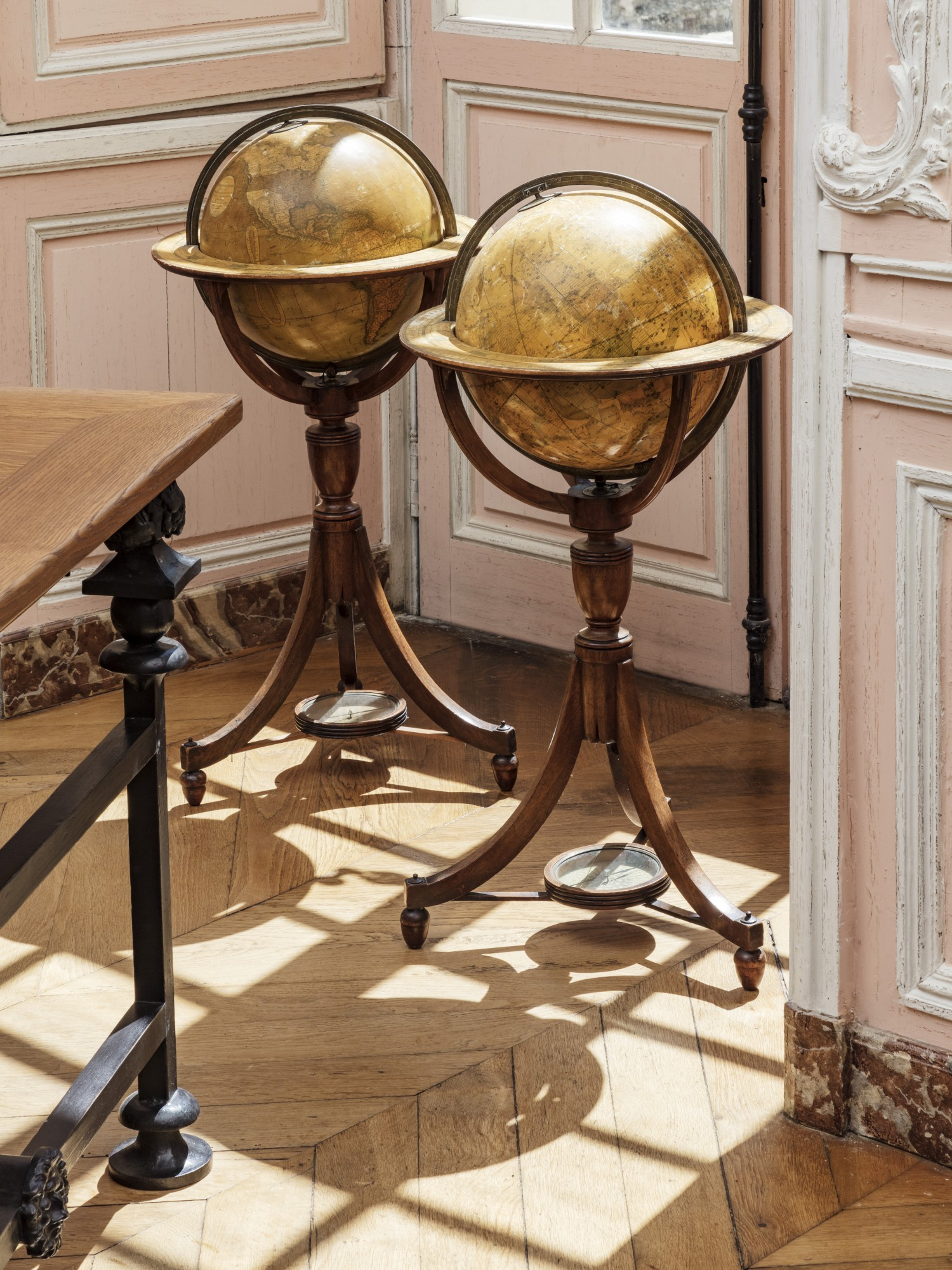 A Pair Of English Papier Mache Brass And Mahogany Celestial And