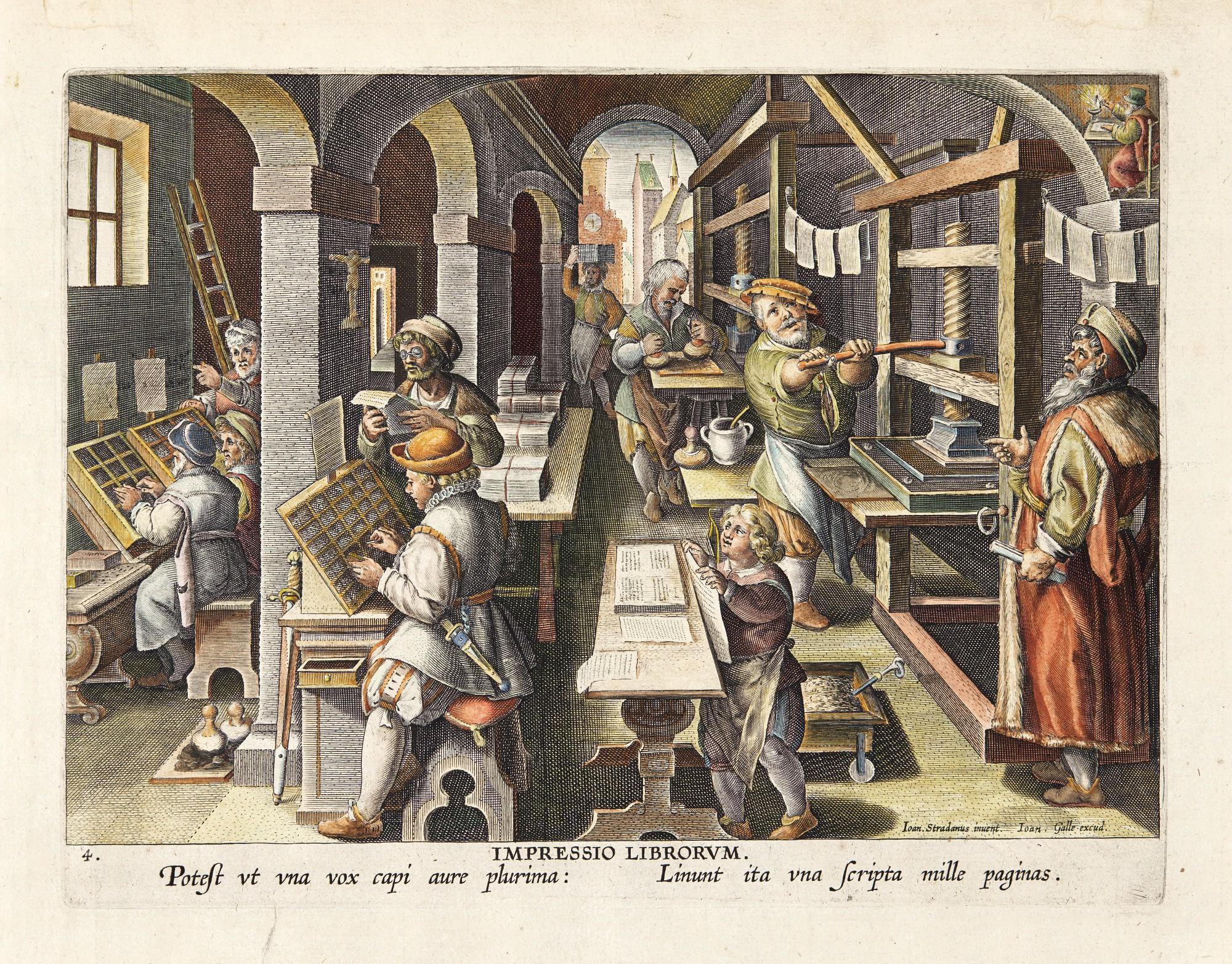 AFTER JAN VAN DER STRAET, CALLED STRADANUS   THE INVENTION OF BOOK PRINTING (IMPRESSIO LIBRORUM) (NEW HOLLSTEIN 326)