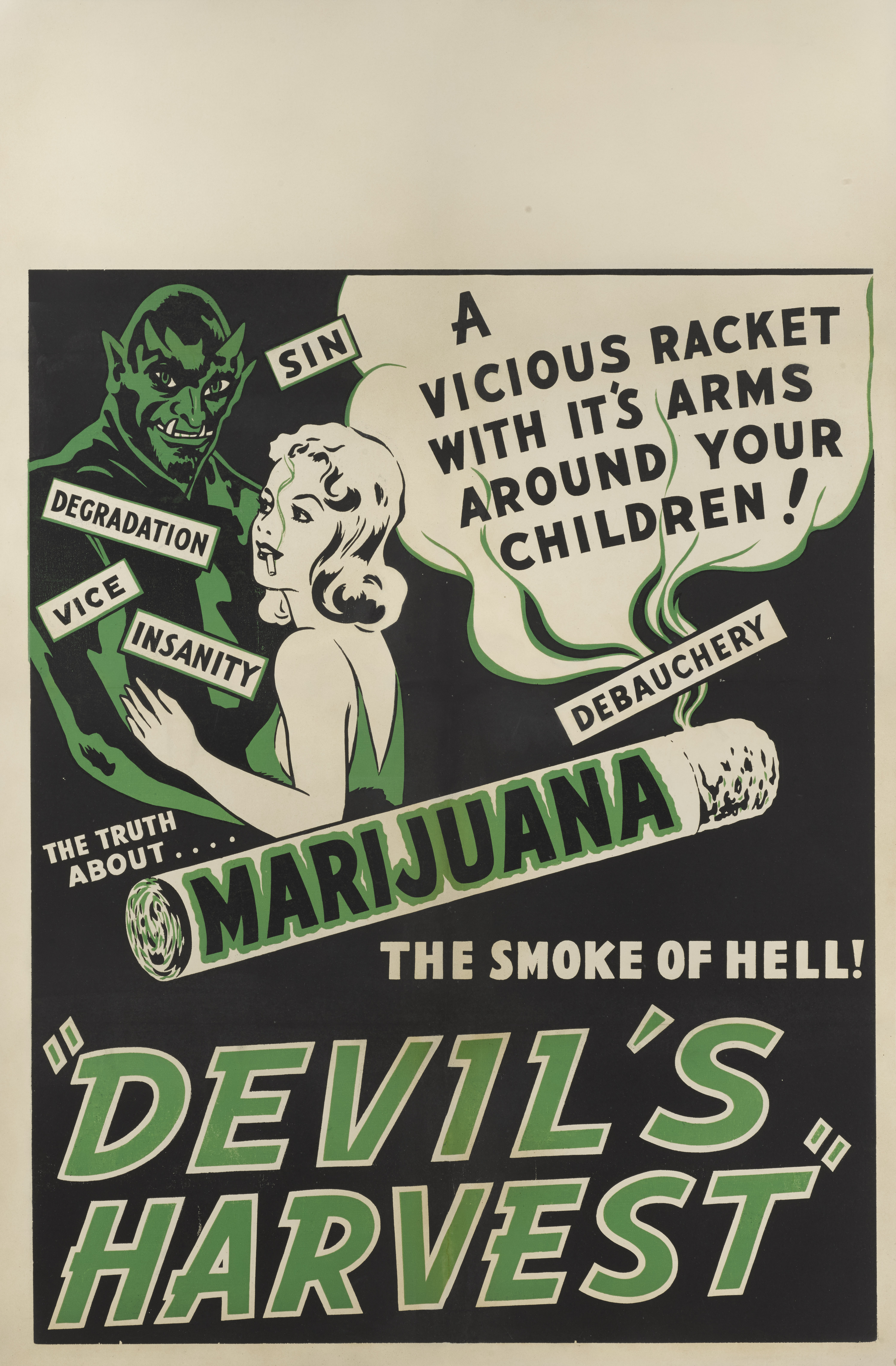View full screen - View 1 of Lot 180. Devil's Harvest (1942) Poster, US.
