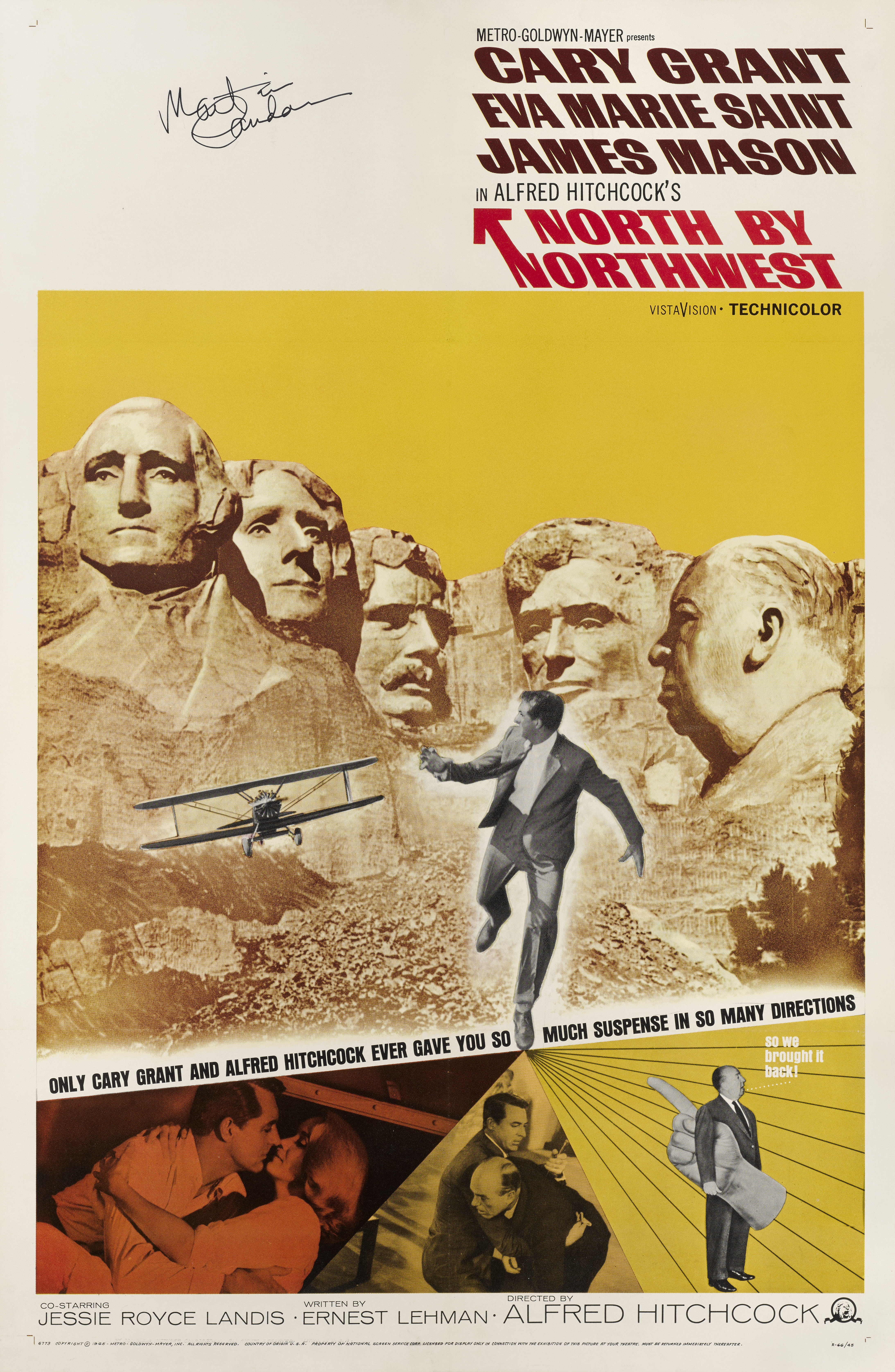 View full screen - View 1 of Lot 36. North by Northwest (1959) Poster, US, Re-release 1966, Signed by Martin Landau.