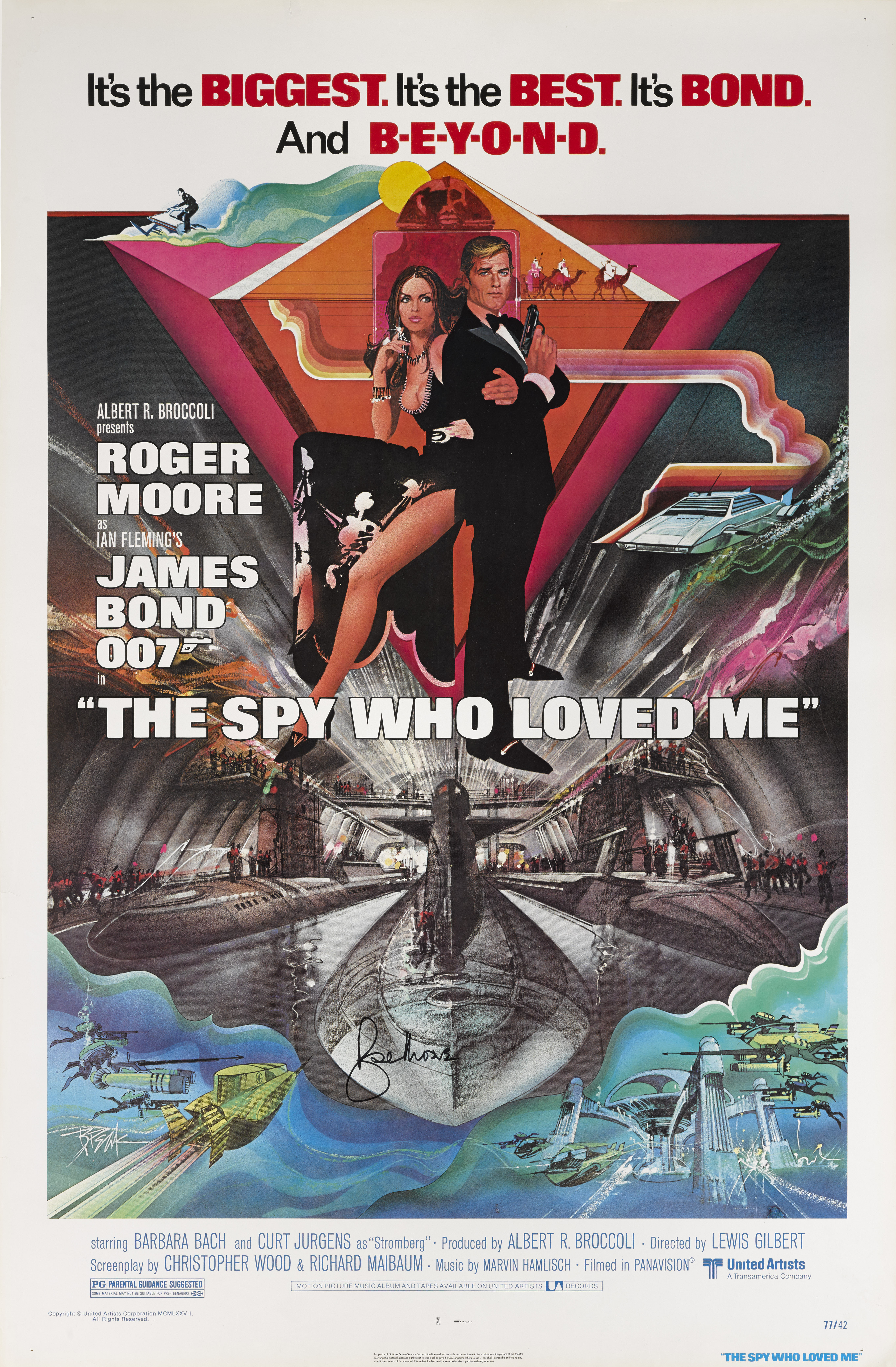 THE SPY WHO LOVED ME (1977) POSTER, US, SIGNED BY  ROGER MOORE
