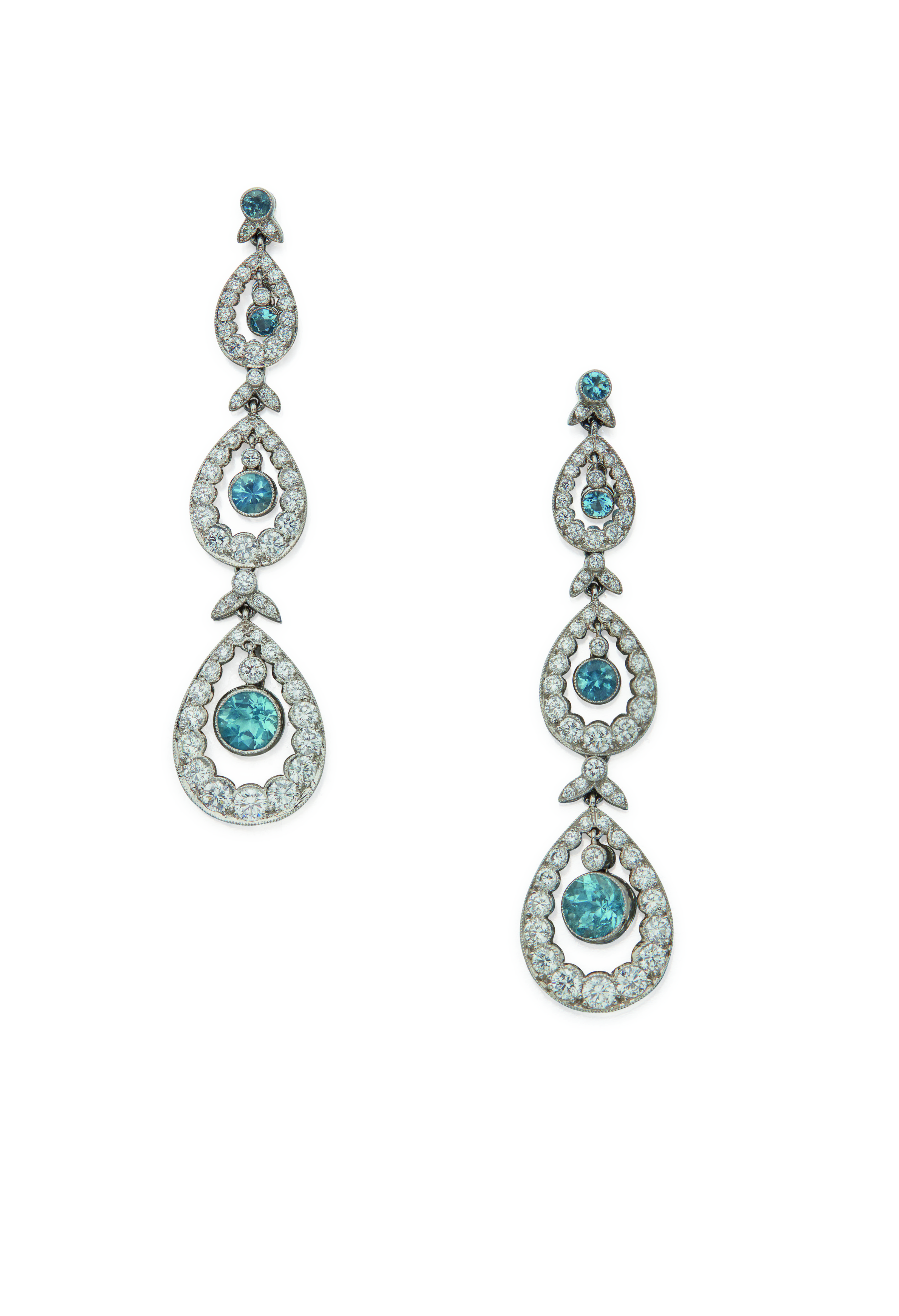 View full screen - View 1 of Lot 32. PAIR OF DIAMOND AND AQUAMARINE 'THREE TIER' EARRINGS, TIFFANY & CO..