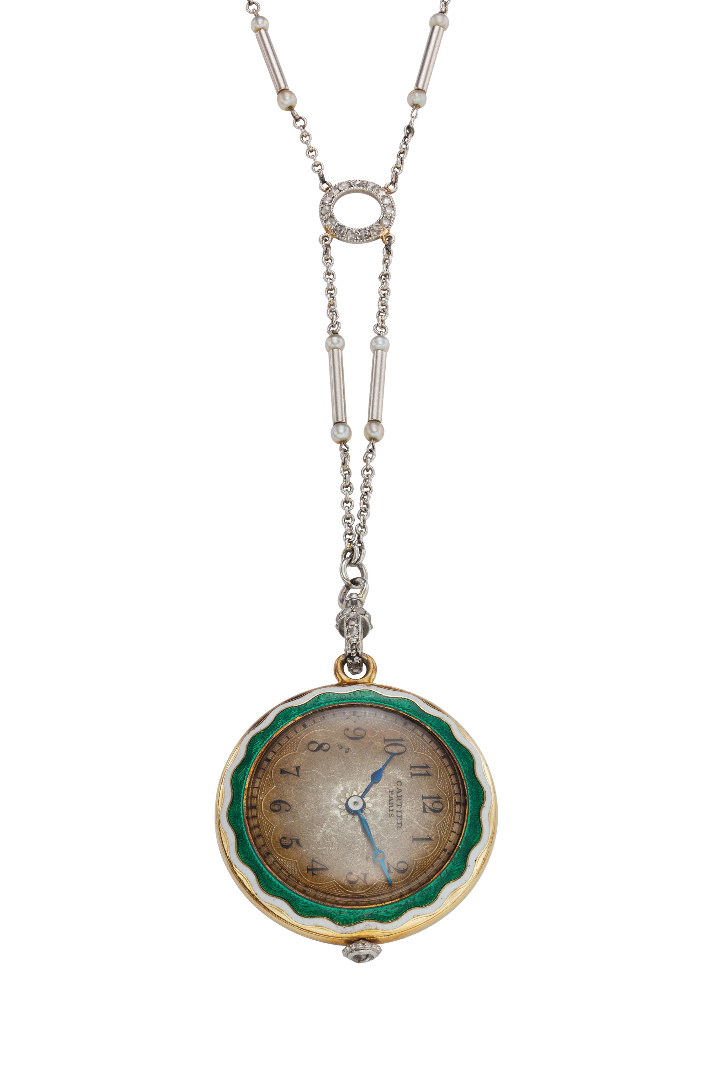 View full screen - View 1 of Lot 395.  A yellow gold platinum enamel and diamond-set open faced watch with necklace, Circa 1925.