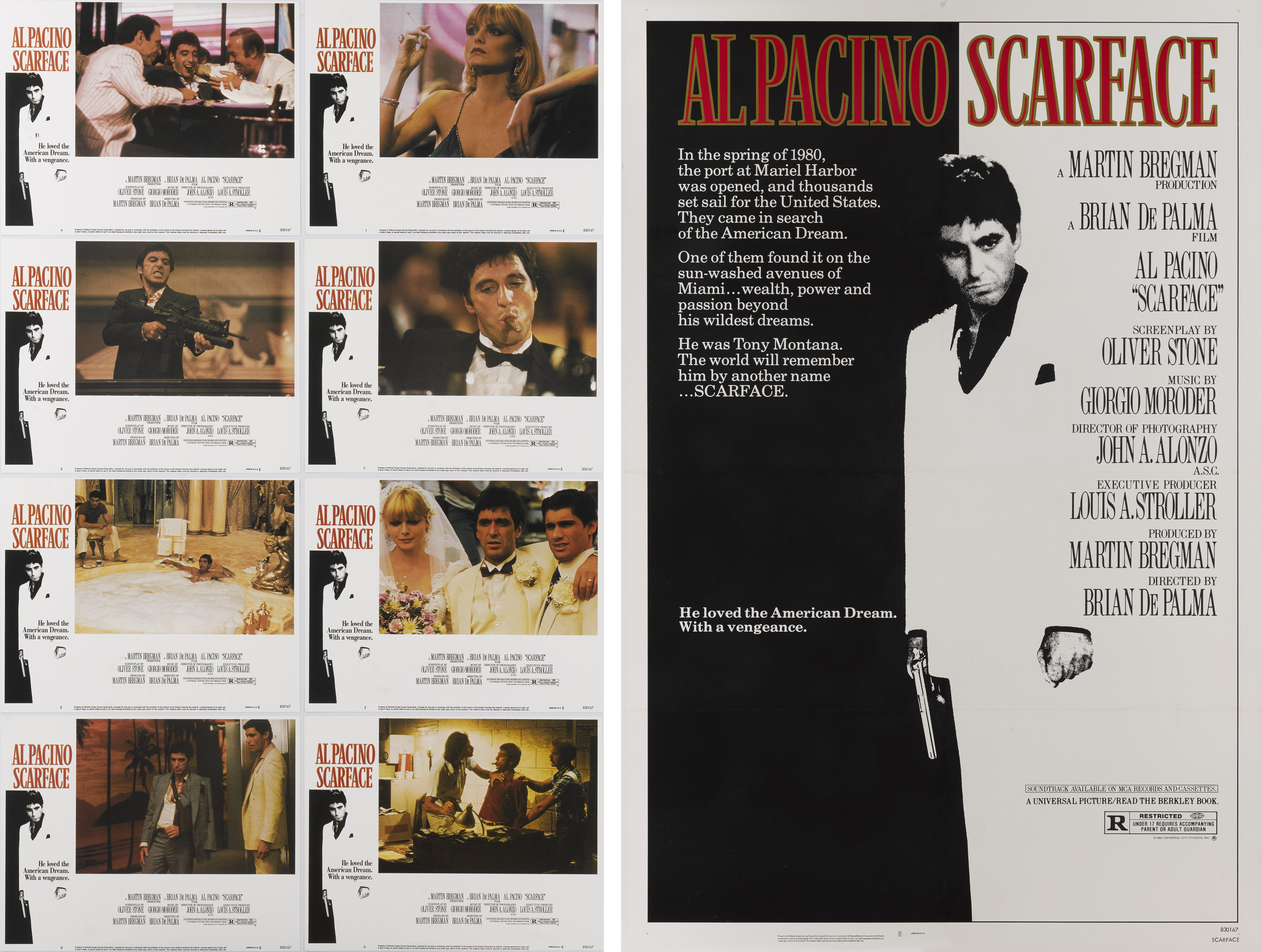 SCARFACE (1983) POSTER, TOGETHER WITH COMPLETE SET OF LOBBY CARDS, US
