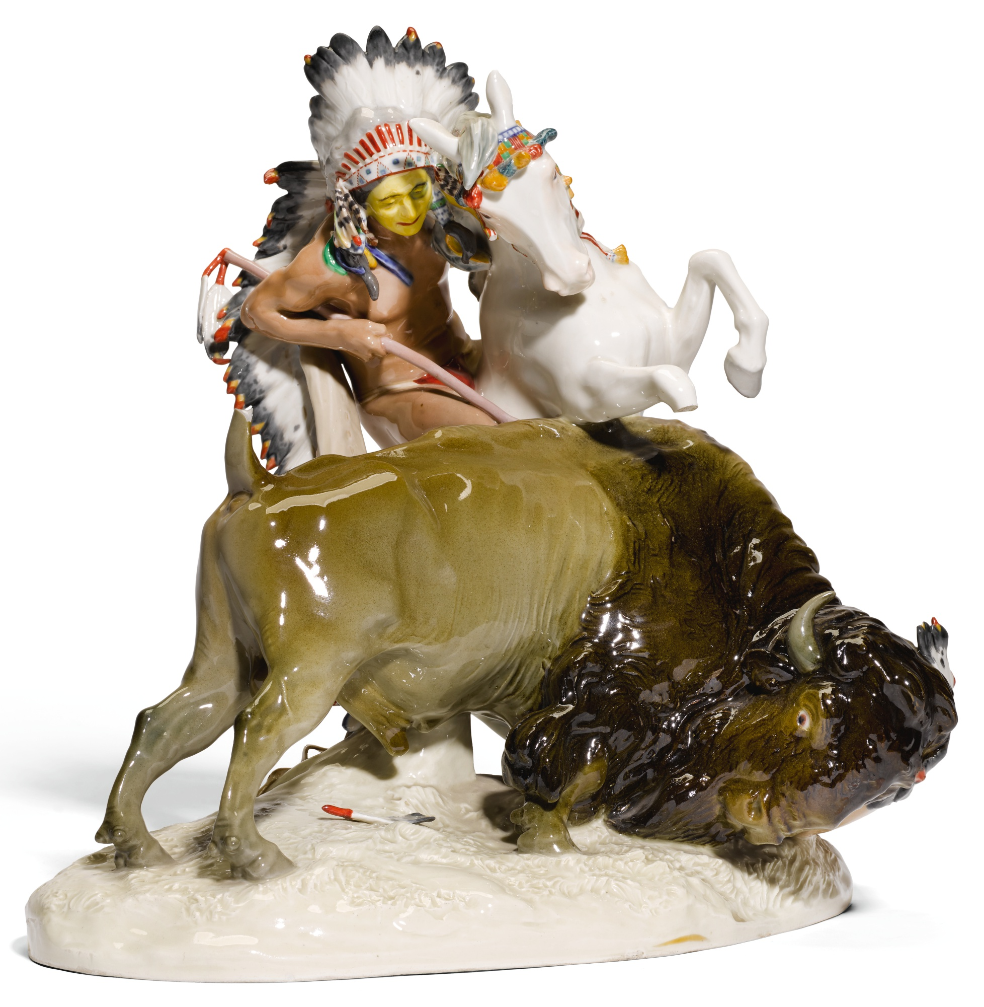 A MEISSEN ALLEGORICAL GROUP OF A BRAVE AND BISON, EMBLEMATIC OF THE AMERICAS FROM A SET OF THE CONTINENTS, CIRCA 1906