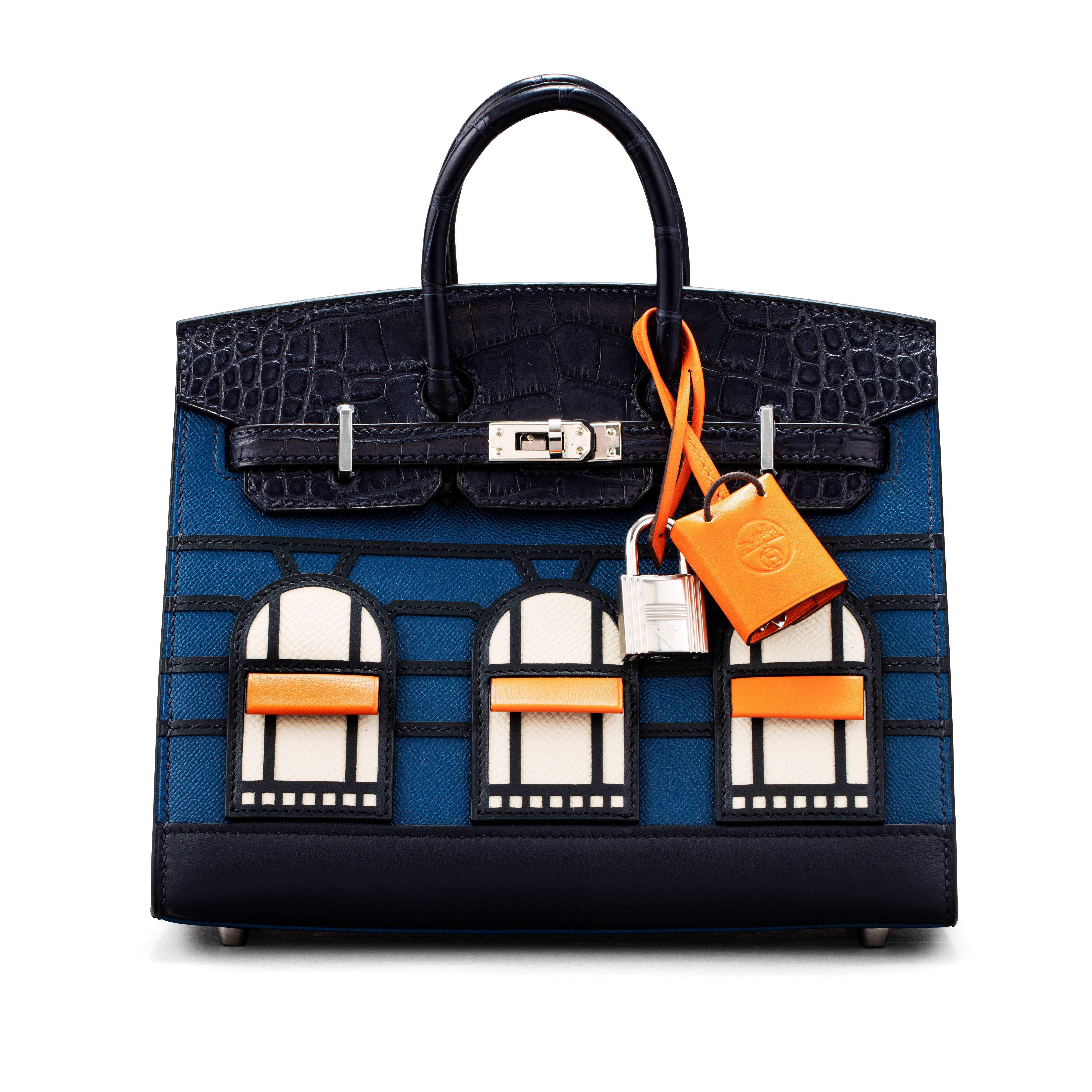 View full screen - View 1 of Lot 20. Limited Edition Birkin Faubourg Sellier 20 in Veau Madame, Matte Alligator, Sombrero, Epsom and Swift Leather with Palladium Hardware, 2019.