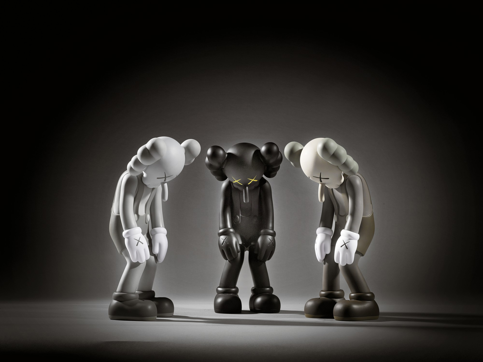 KAWS | SMALL LIE (BROWN); SMALL LIE (BLACK); AND SMALL LIE (GREY)