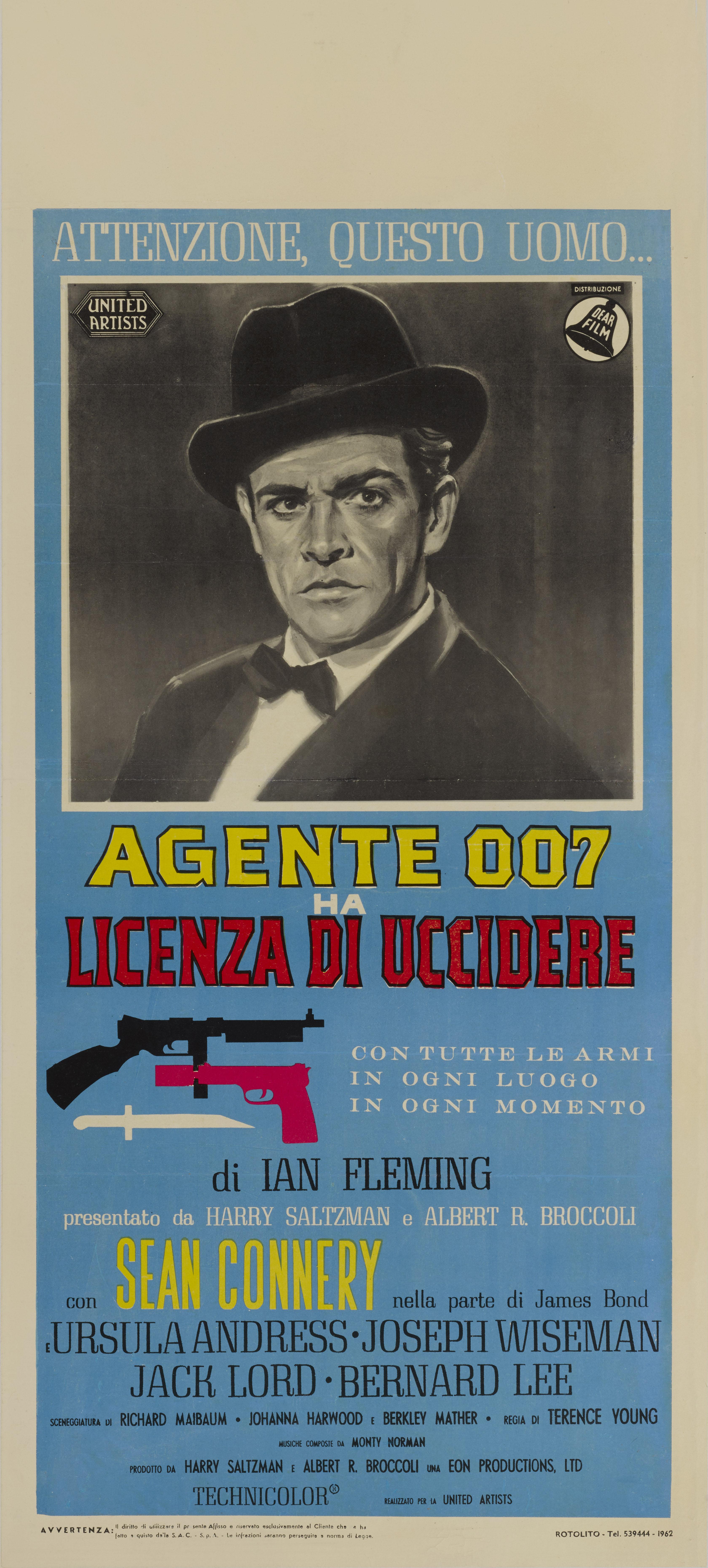DR. NO / AGENTE 007 - LICENZA DI UCCIDERE (1962) POSTER, ITALIAN
