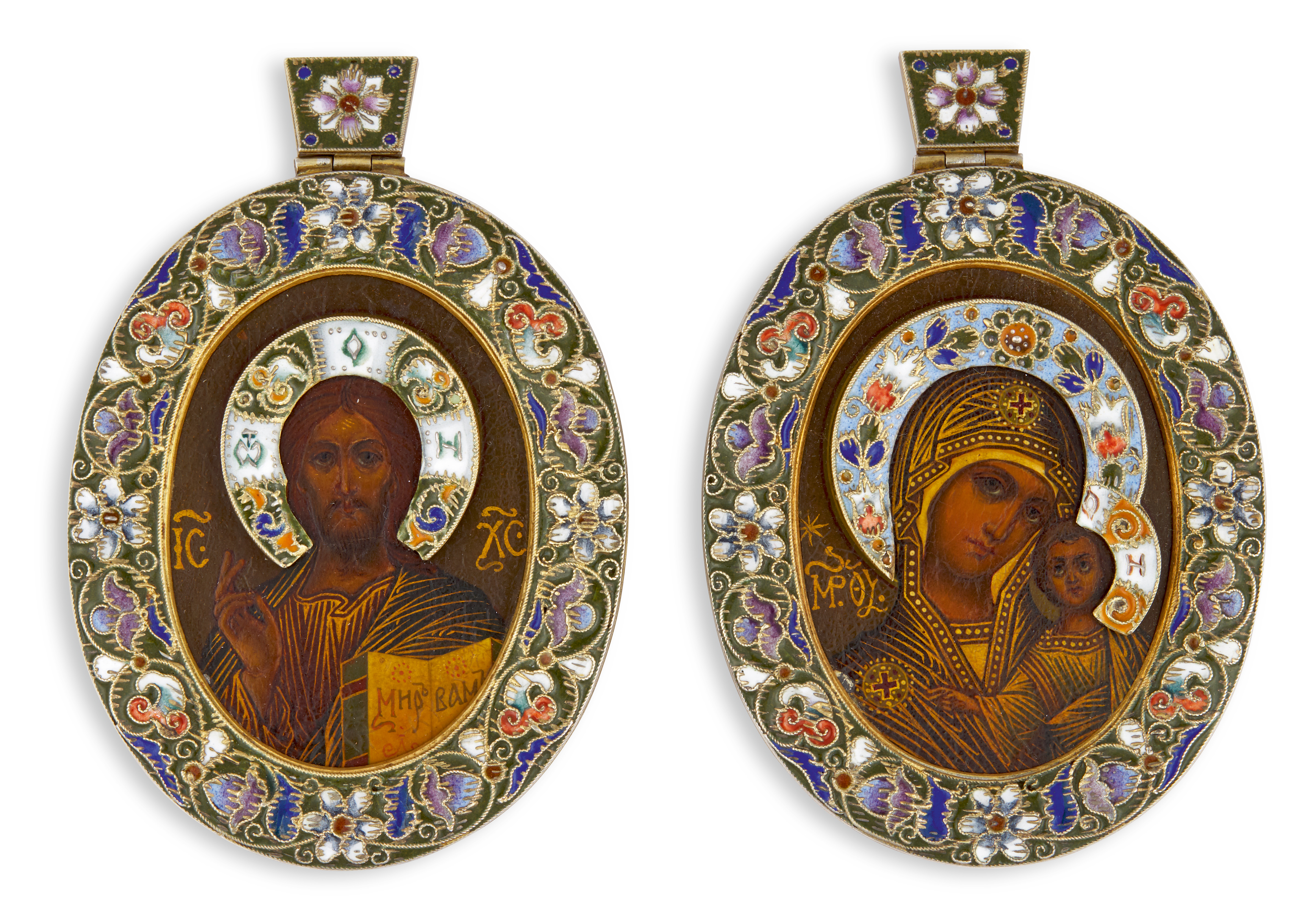 View full screen - View 1 of Lot 265. AFabergé wedding pair of silver and cloisonné enamel icons, Moscow, 1908-1917.