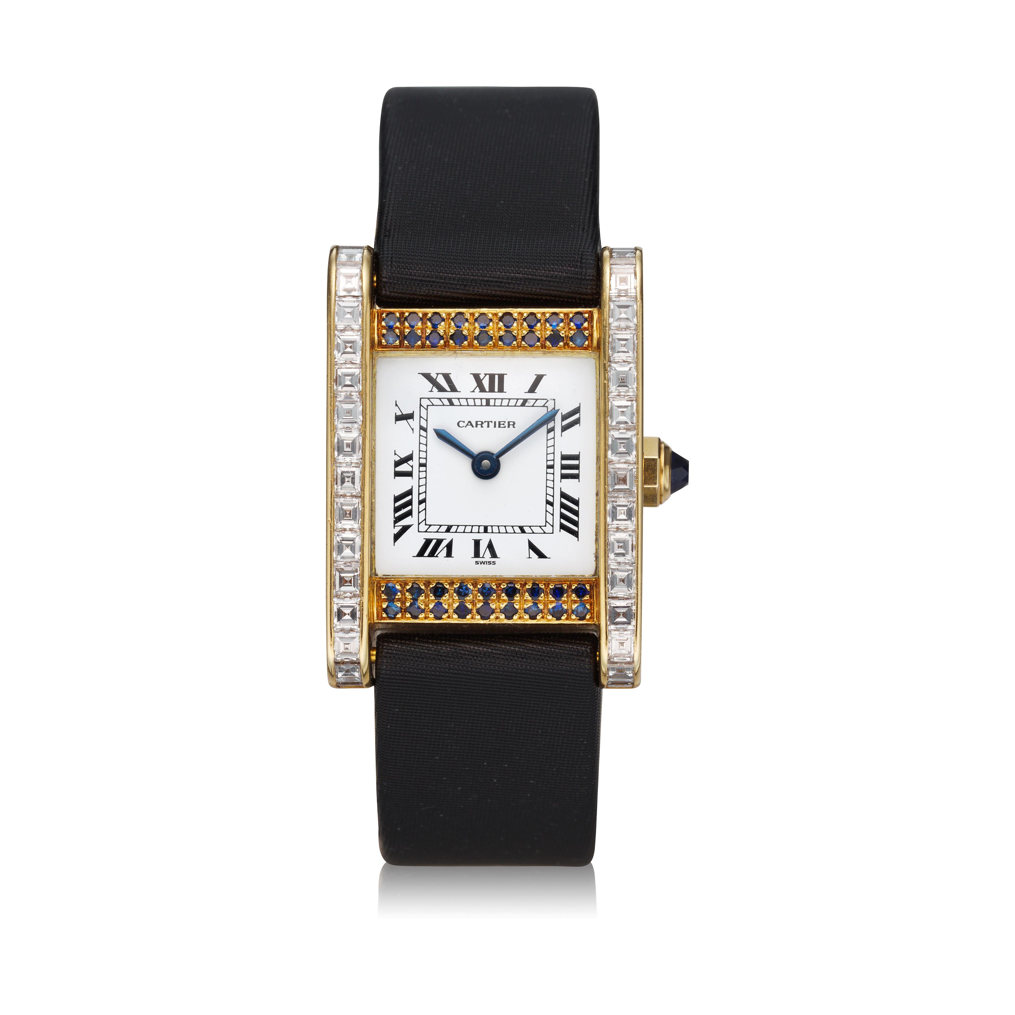 View full screen - View 1 of Lot 305. A yellow gold, diamond and sapphire-set rectangular wristwatch, Circa 1985.