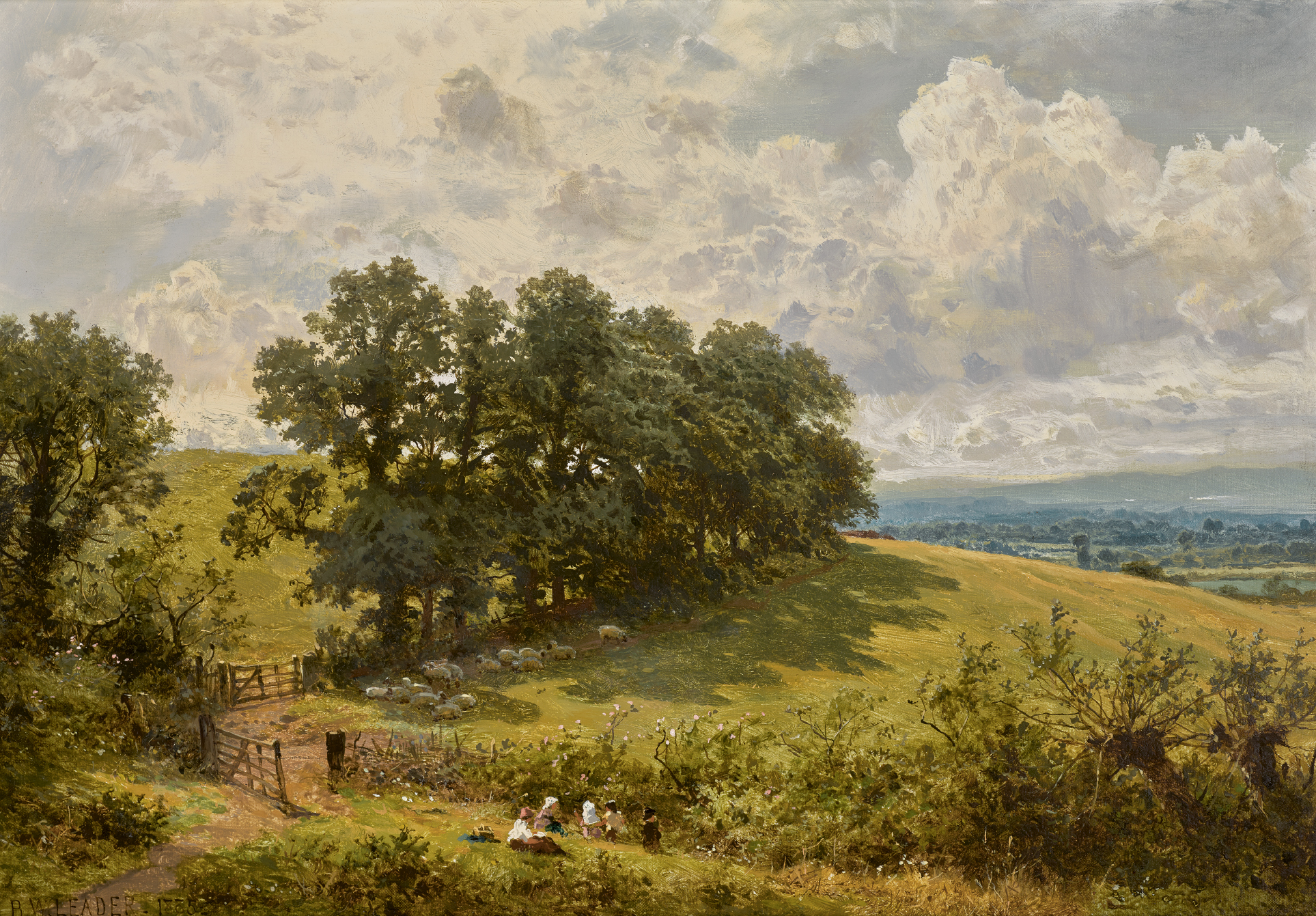 BENJAMIN WILLIAMS LEADER, R.A. | Hedge Row Elms at Hillocks Green