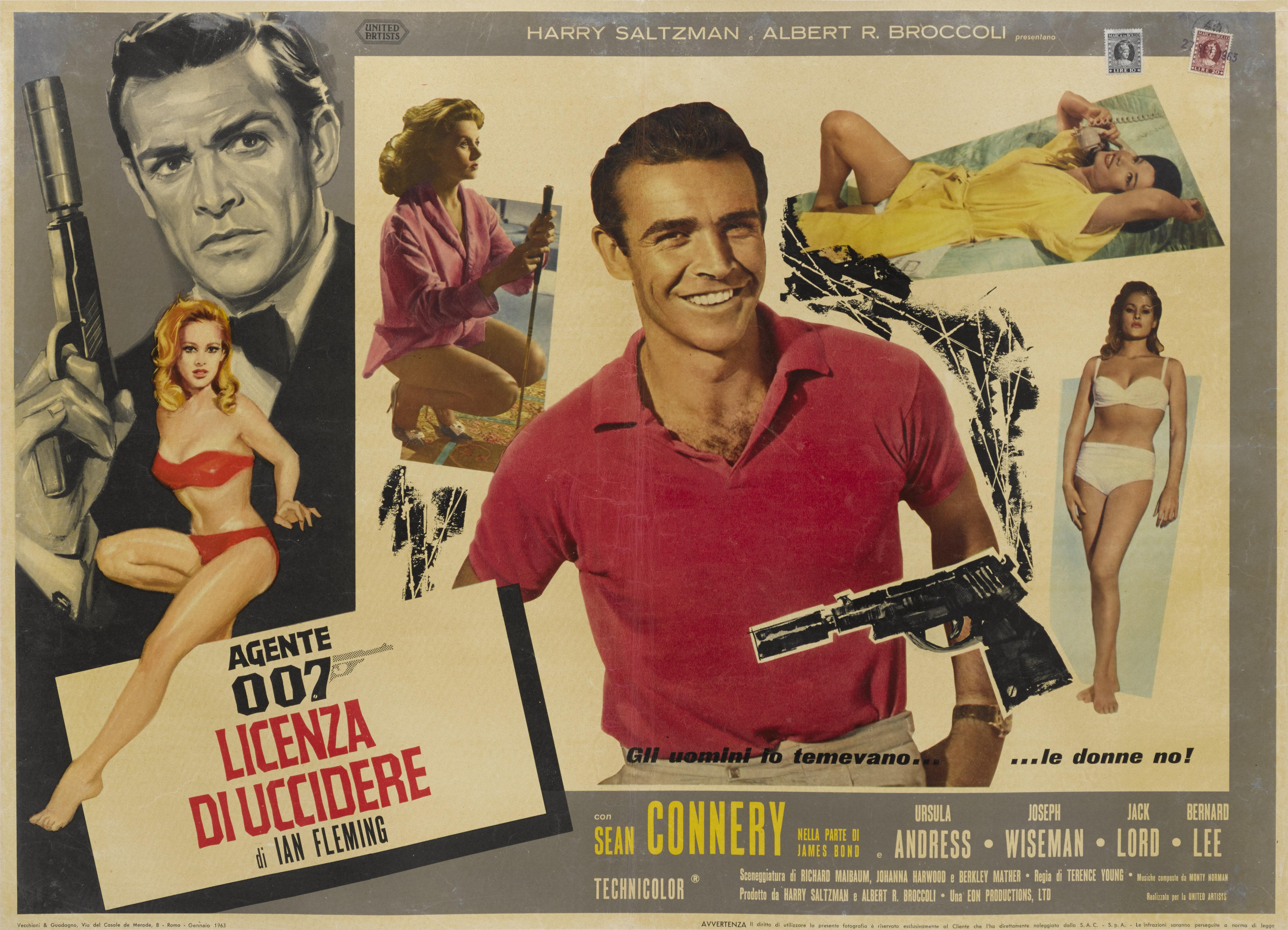DR. NO / AGENTE 007 - LICENZA DI UCCIDERE (1962) POSTER, ITALIAN, FIRST ITALIAN RELEASE 1963