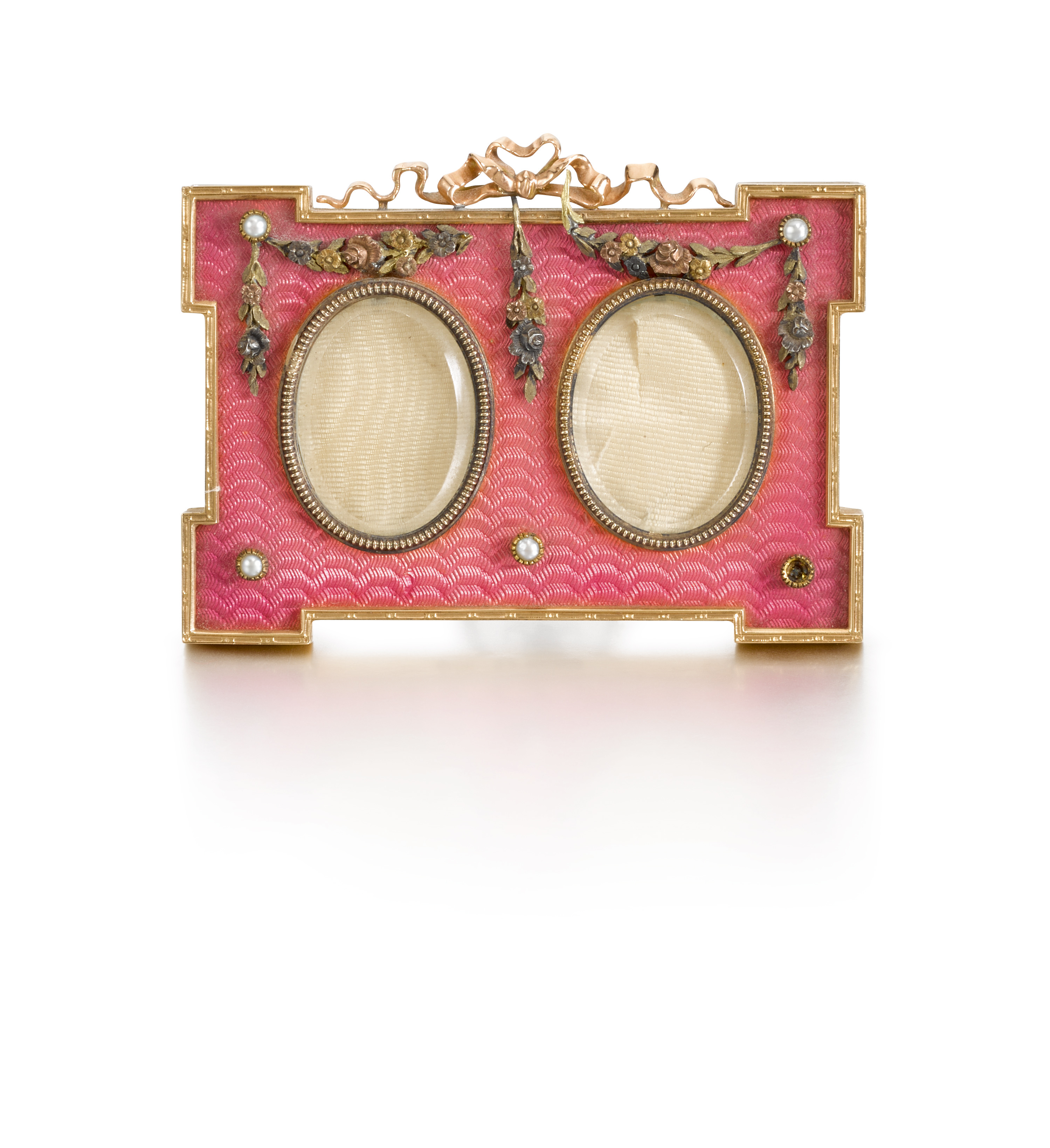 View full screen - View 1 of Lot 238. A Fabergé gold, enamel and pearl miniature frame, workmaster Victor Aarne, St Petersburg, 1899-1904.