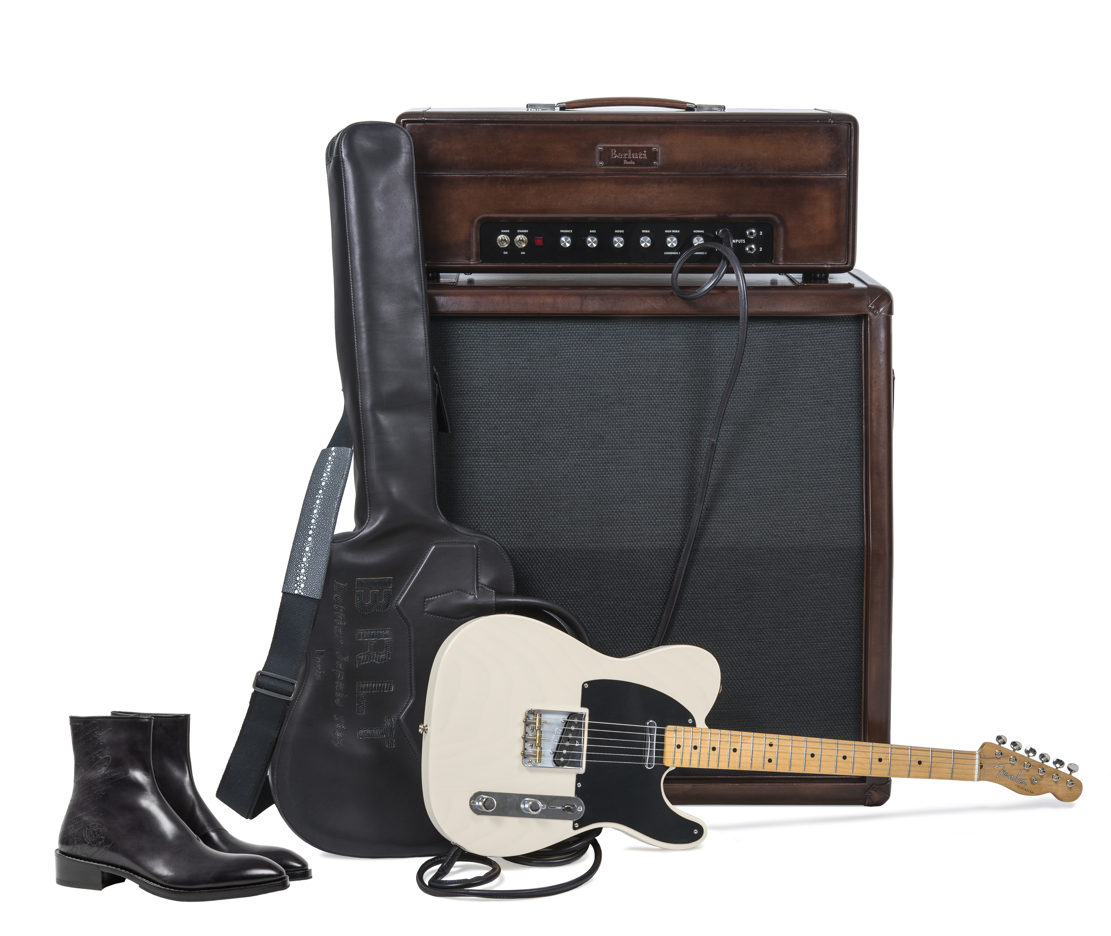 View full screen - View 1 of Lot 9. Berluti | Amplifier, Guitar with Case and Boots (Ampli, Guitare avec Housse et Bottine) [5 Items / Articles].