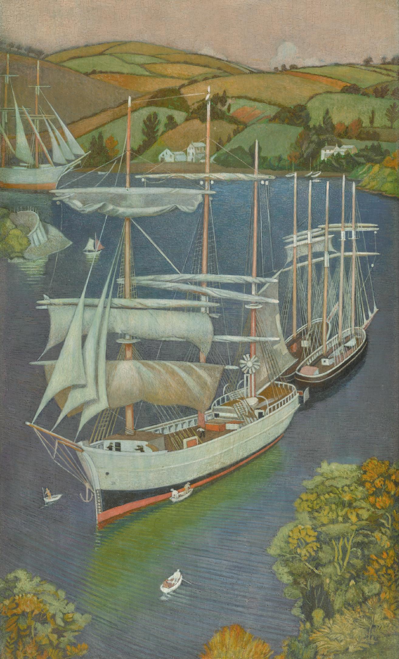 JOSEPH EDWARD SOUTHALL, R.W.S., R.B.S.A., N.E.A.C. | Brigs on the Fowey Estuary
