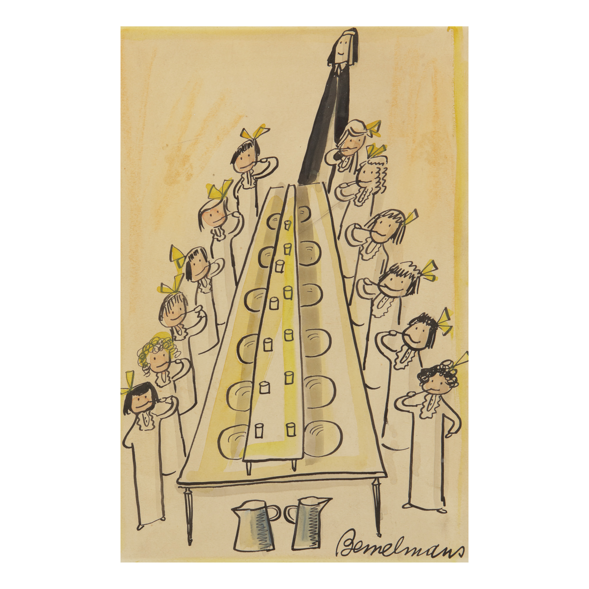 LUDWIG BEMELMANS   AN ILLUSTRATION FOR 'MADELINE' (AND BRUSHED THEIR TEETH)