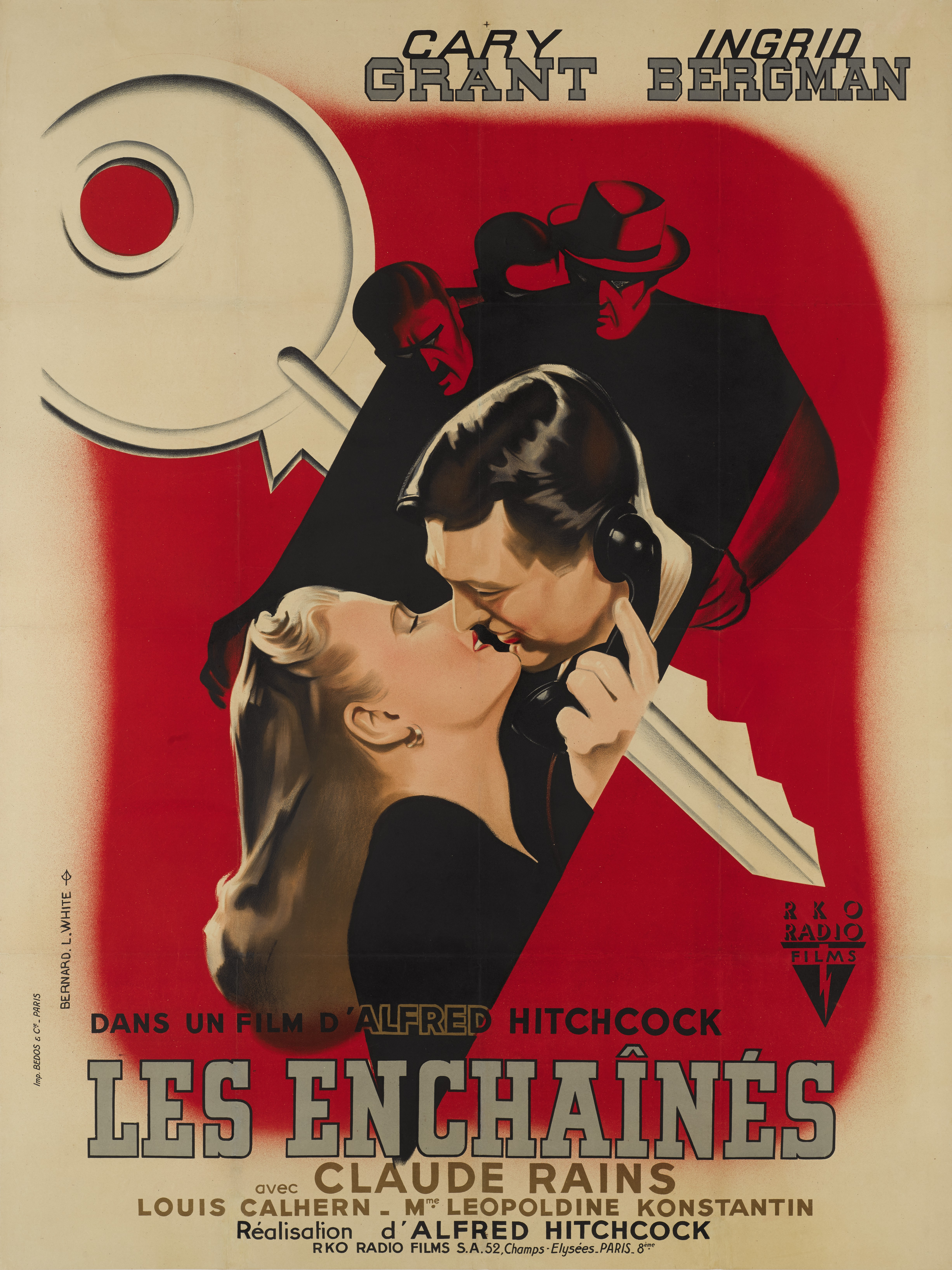 NOTORIOUS/LES ENCHAINES (1946) POSTER, FRENCH