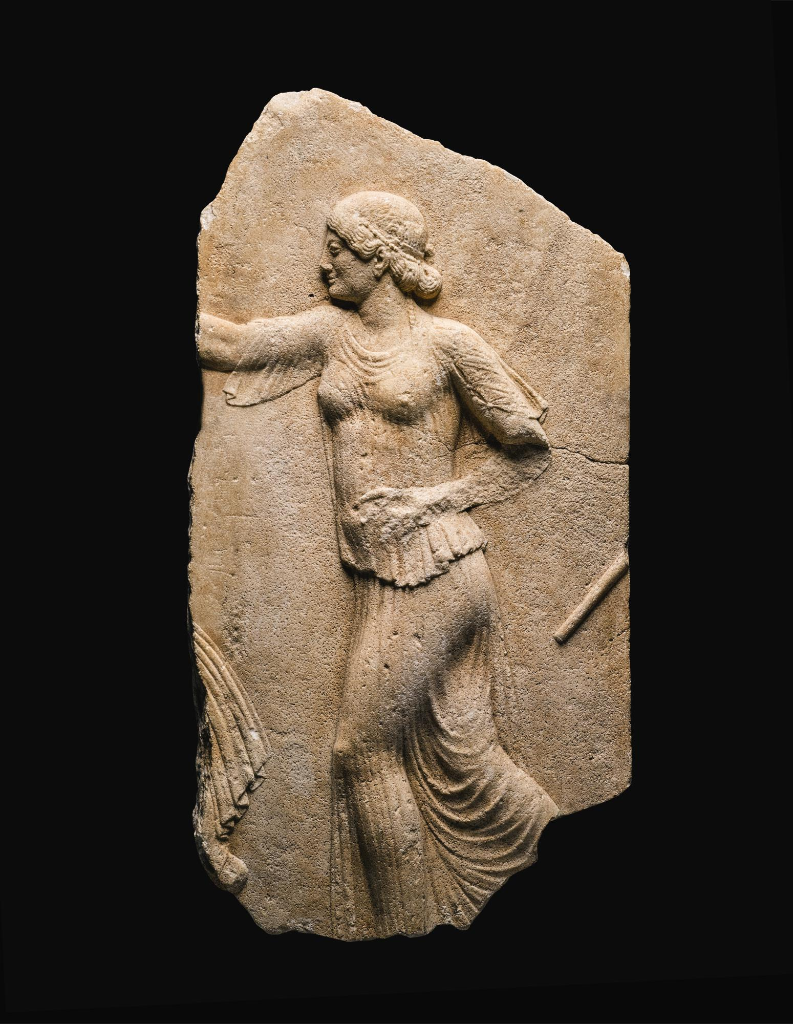 A MARBLE RELIEF FRAGMENT, 2ND QUARTER OF THE 5TH CENTURY B.C., OR LATER